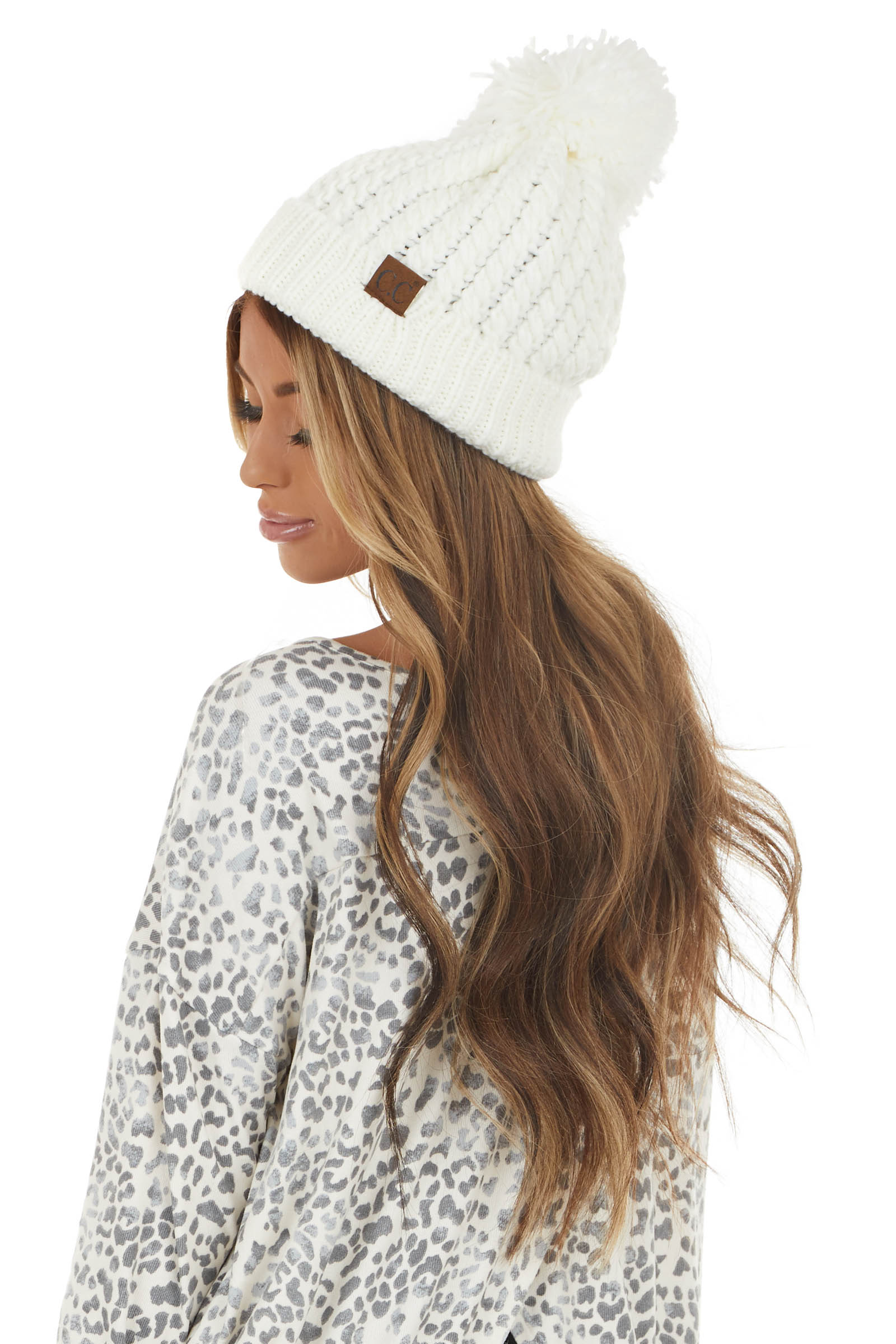 Ivory Twisted Mock Cable Knit Beanie with Pom Detail