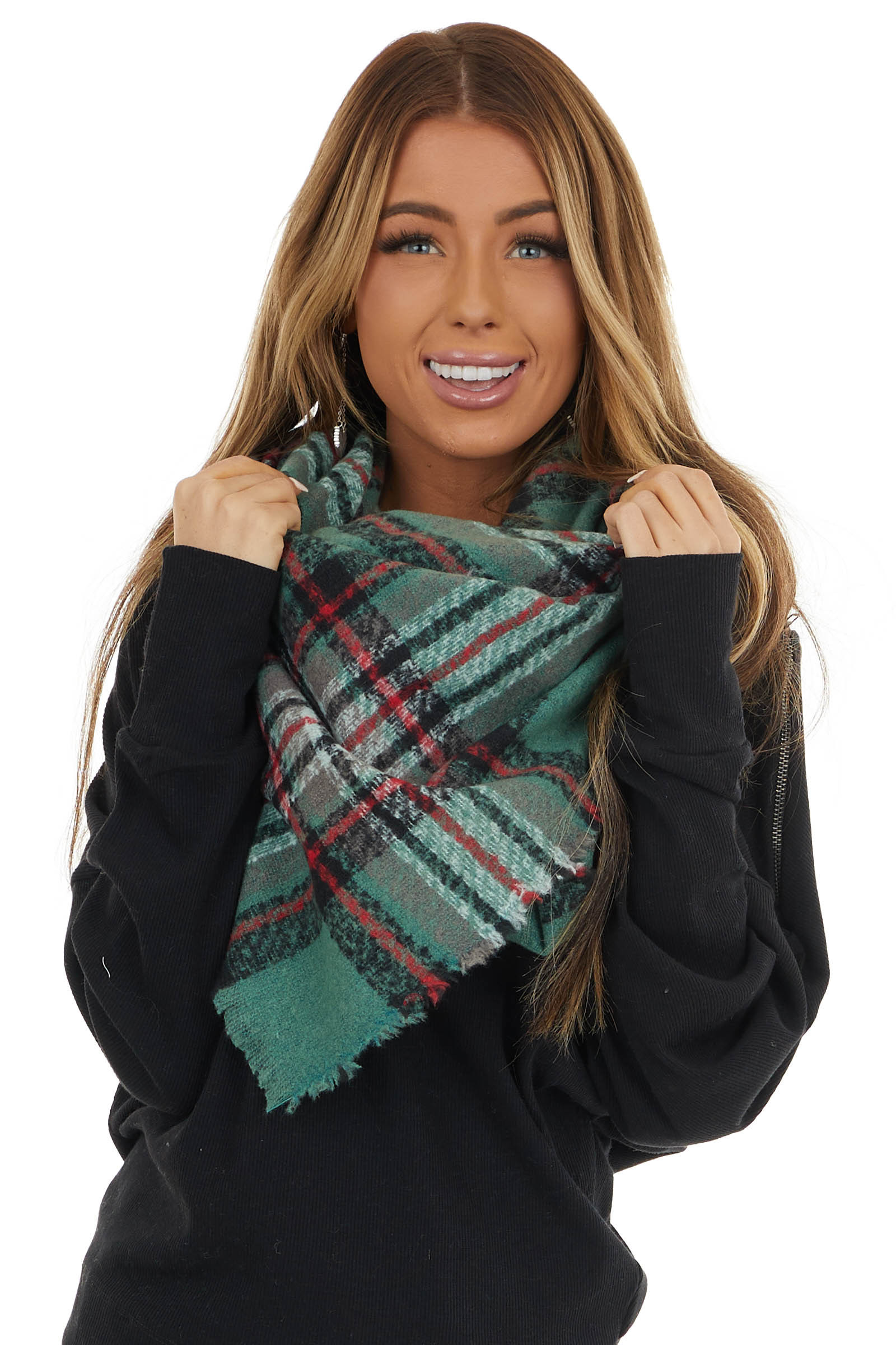 Jade and Cranberry Plaid Print Scarf with Frayed Detail