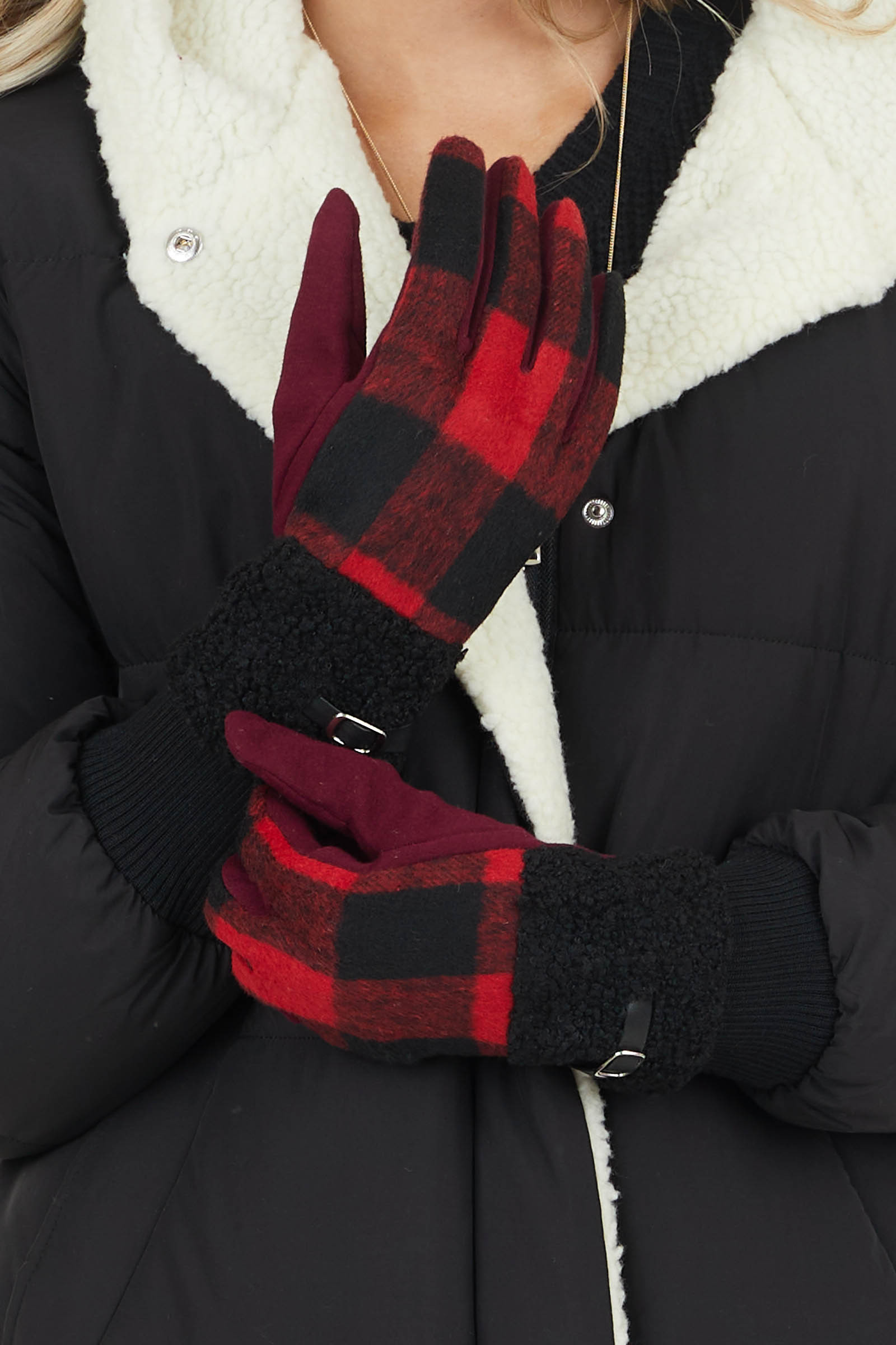 Candy Apple Red Buffalo Plaid Gloves with Sherpa Detail