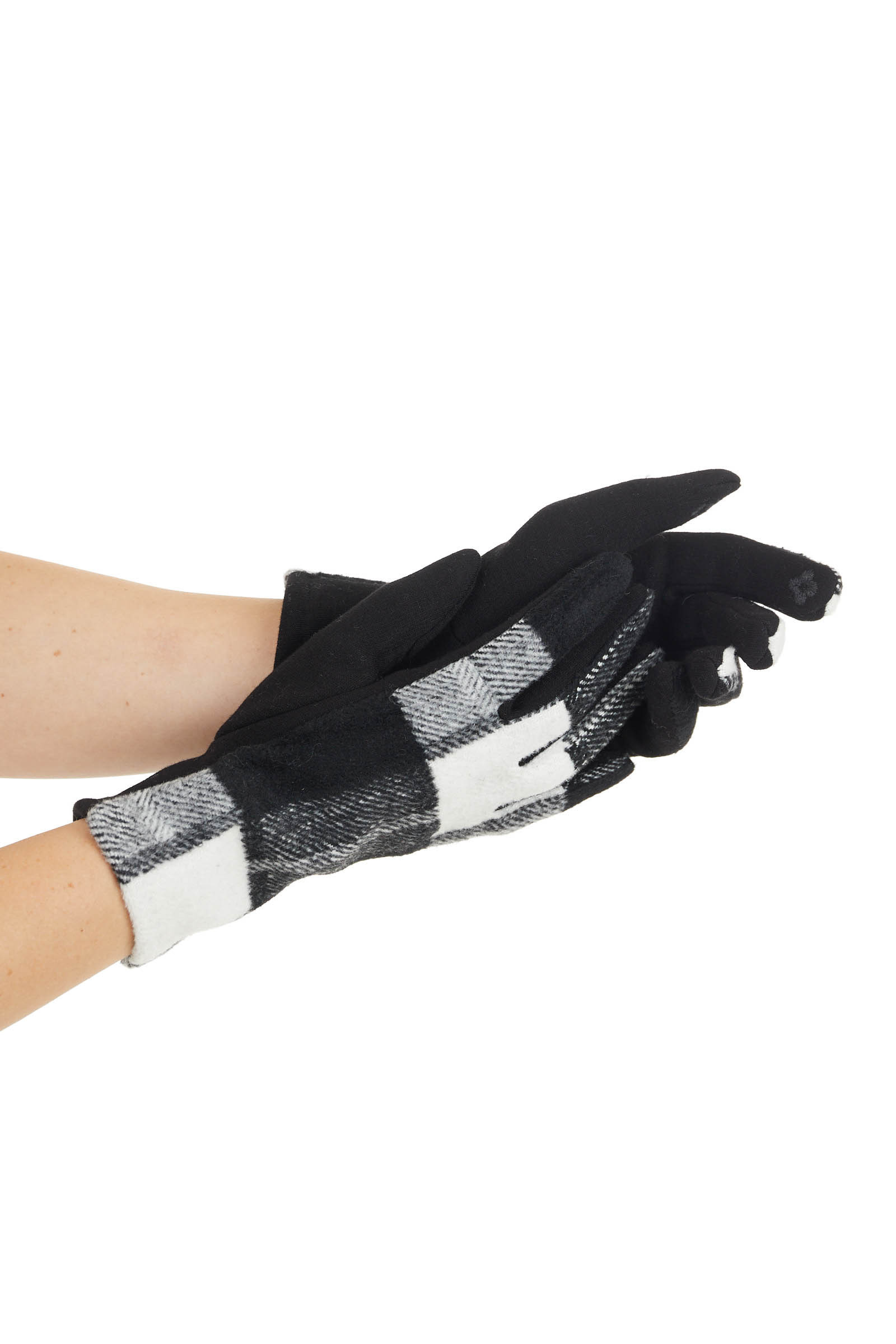 Black and Ivory Buffalo Plaid Gloves with Touchscreen Pads
