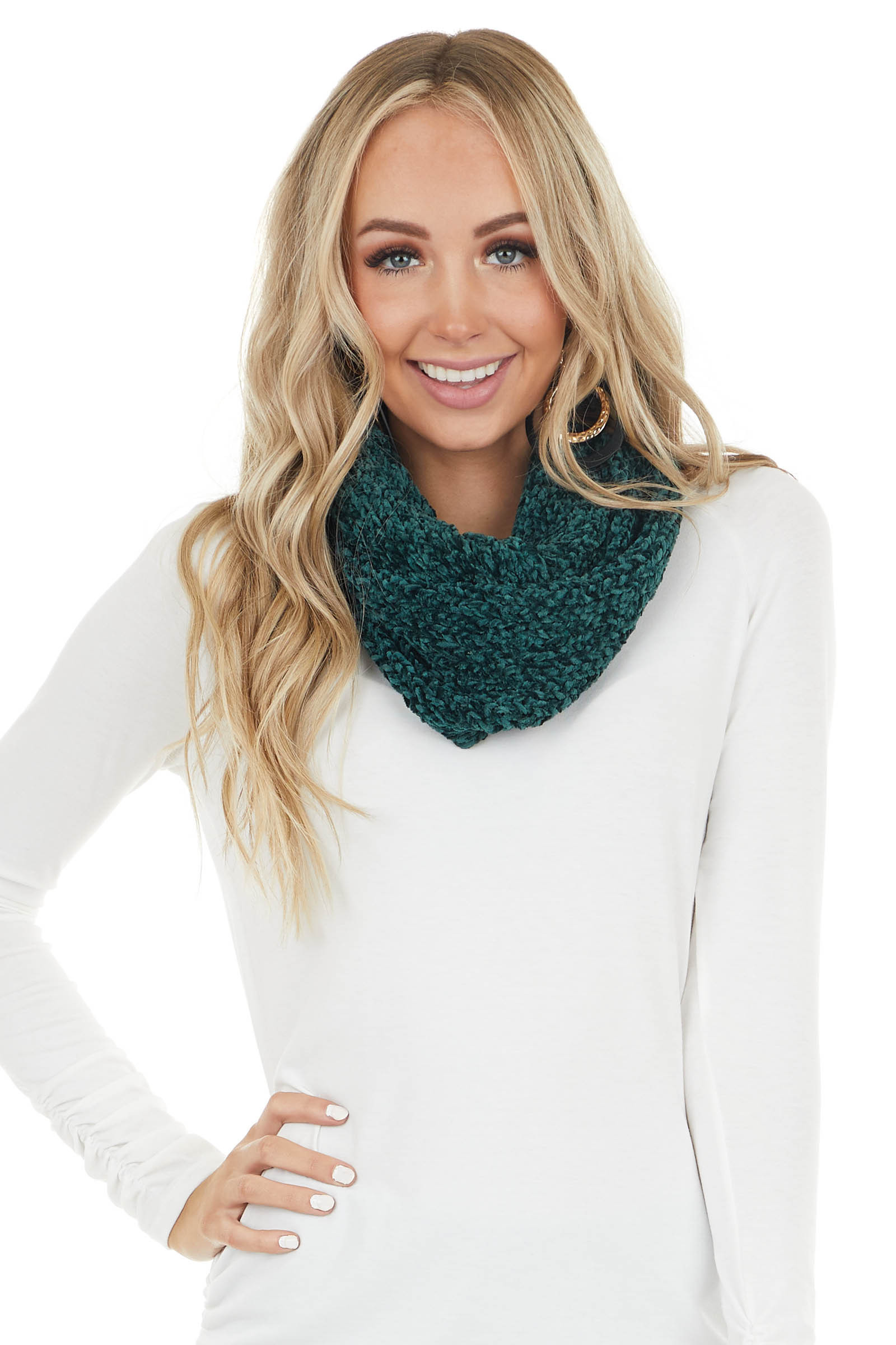 Forest Green Super Soft Chenille Infinity Knit Scarf