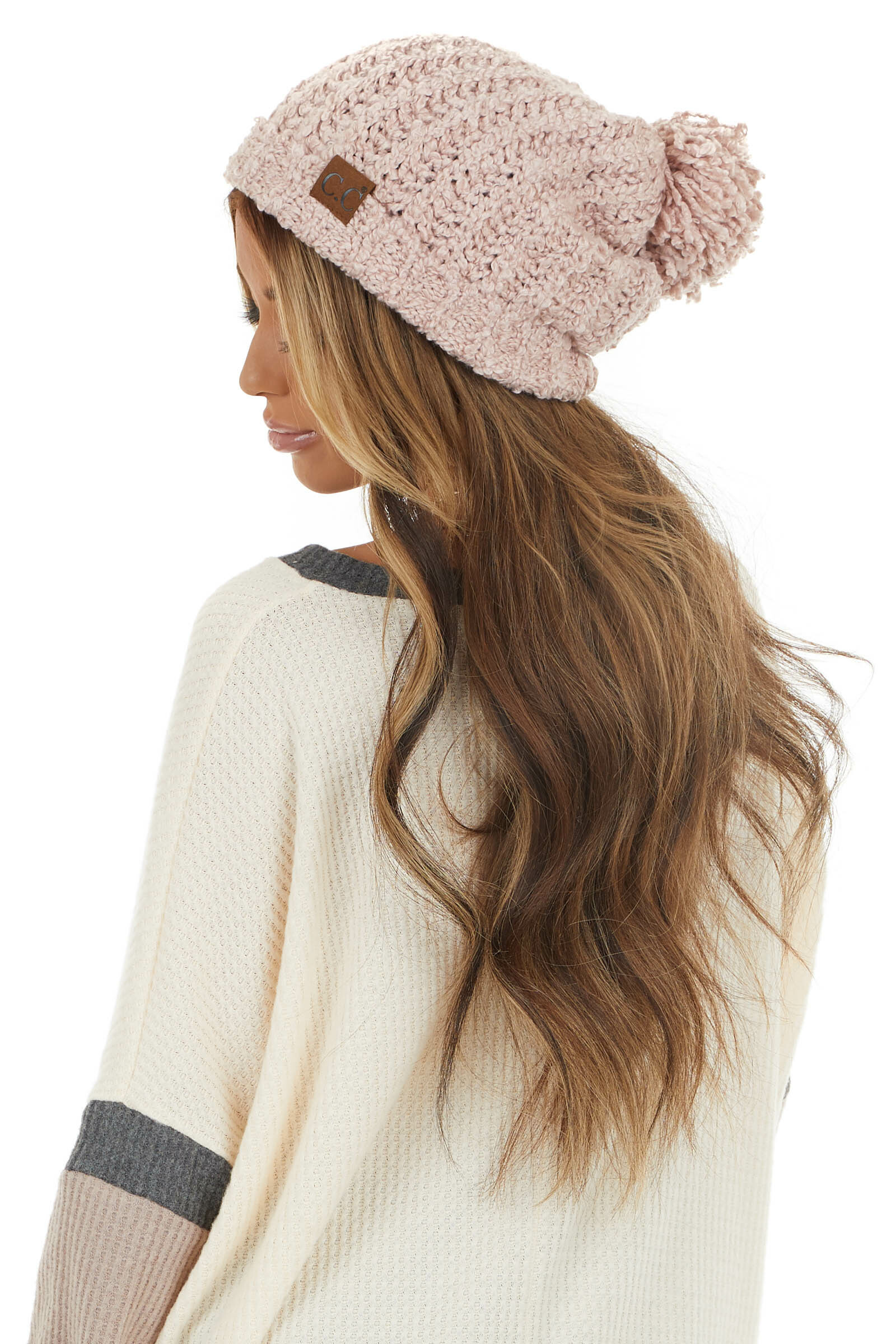 Dusty Blush Chenille Ribbed Knit Beanie with Pom Detail