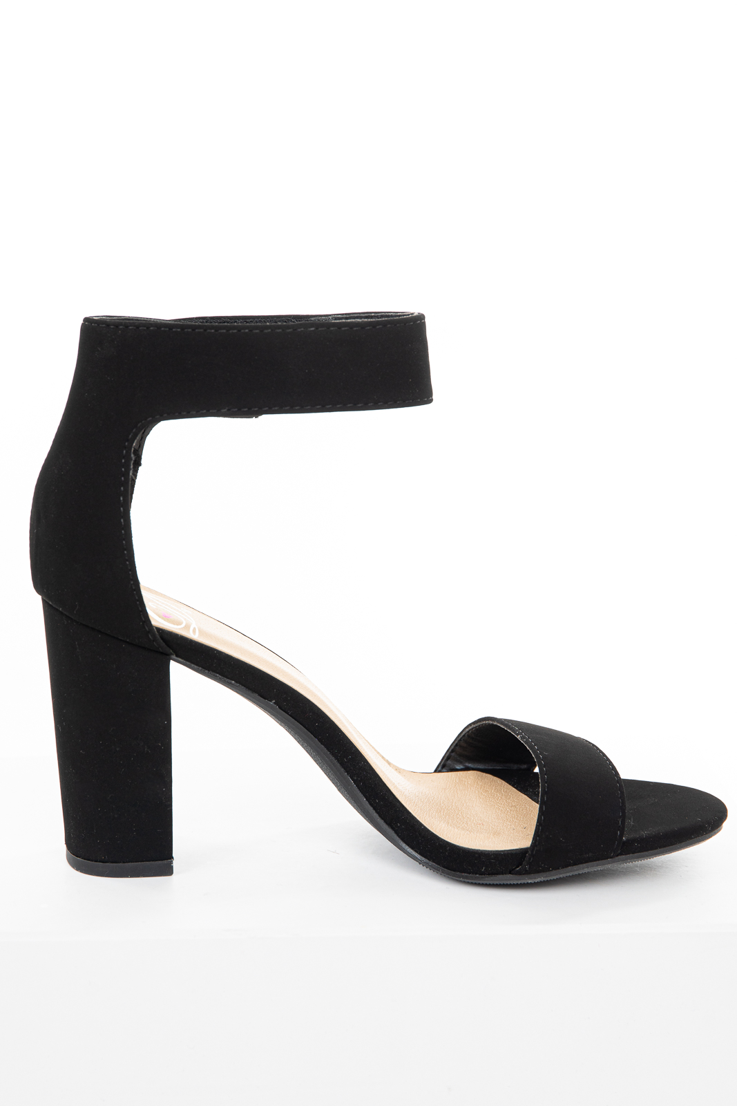 Black Nubuck Chunky High Heel Velcro Ankle Strap Sandals