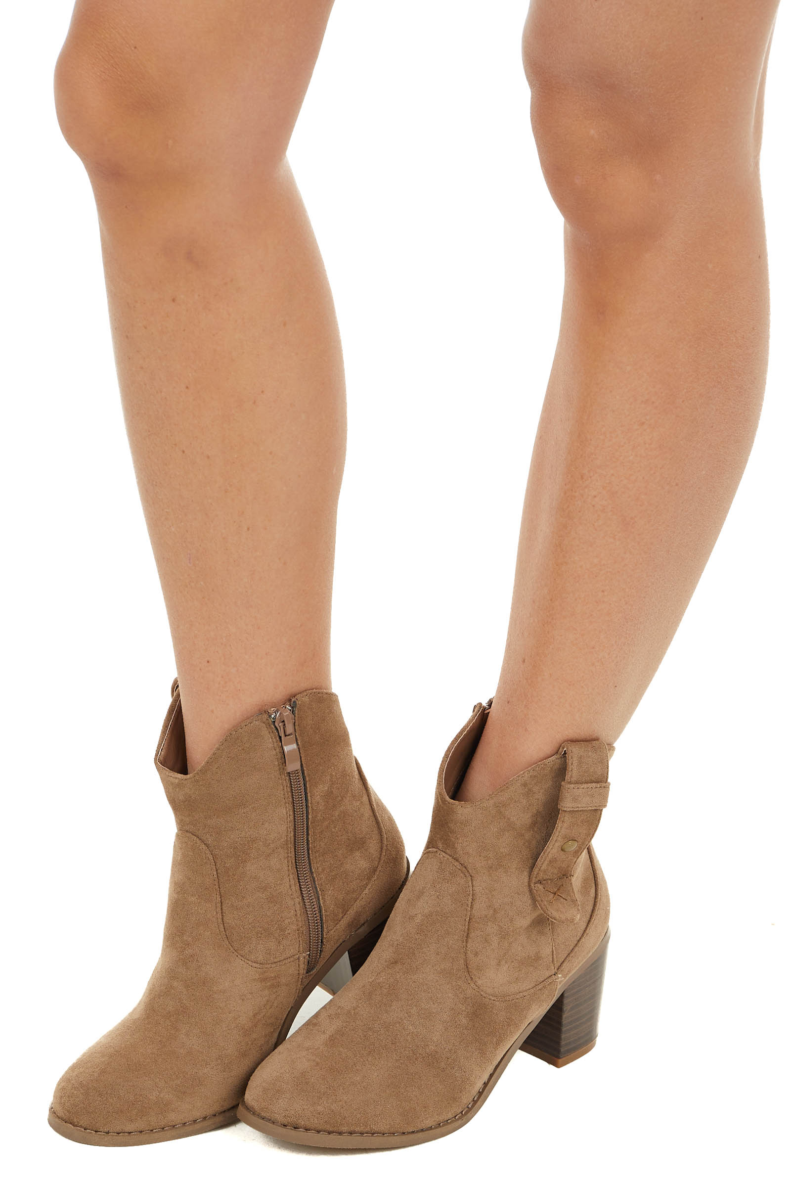 Latte Faux Suede Western Style Block Heel Zip Up Booties