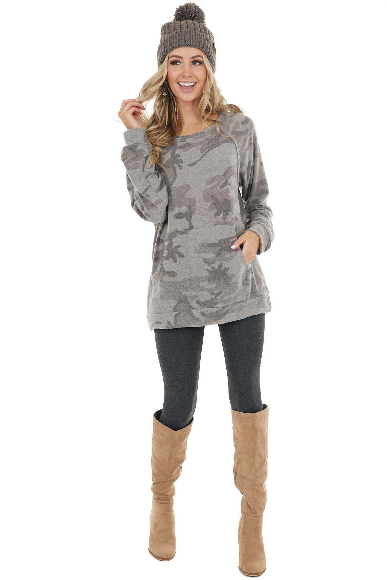 Stone Grey Camo Long Sleeve Knit Top with Kangaroo Pocket