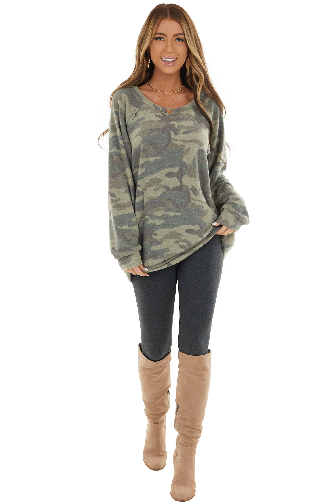 Dark Sage Camo Long Sleeve Knit Top with Kangaroo Pocket