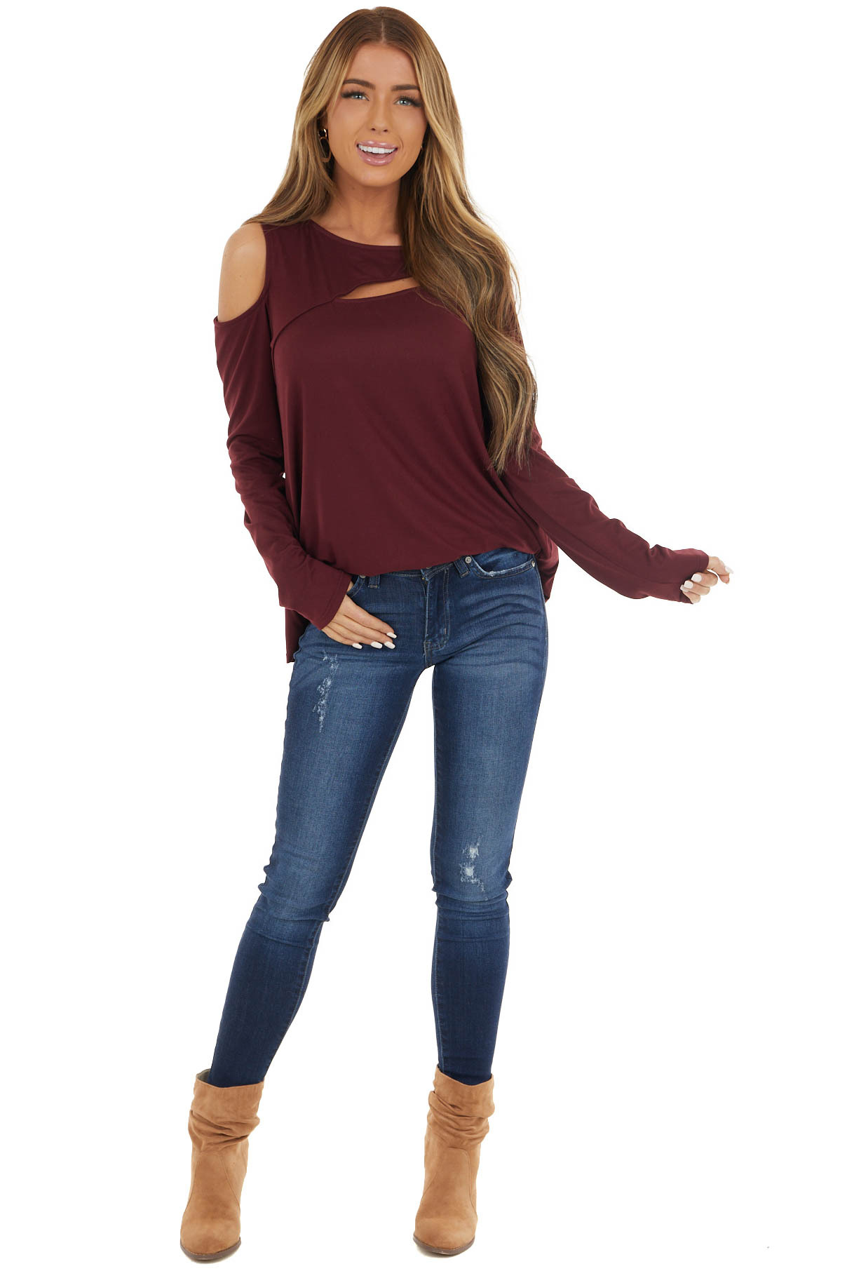 Burgundy One Cold Shoulder Top with Chest Cutout Detail