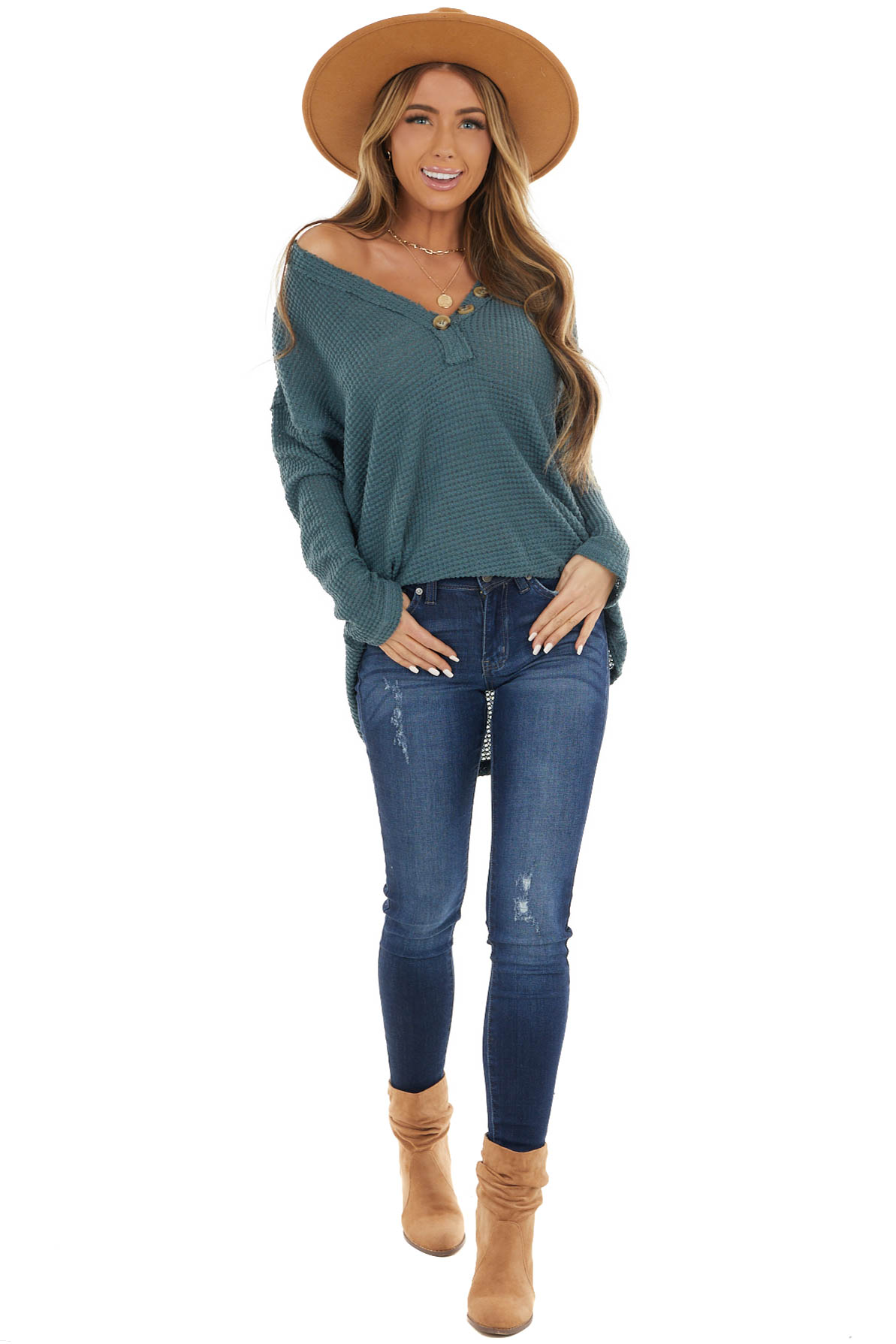 Dark Teal Long Sleeve Waffle Knit Top with Button Detail
