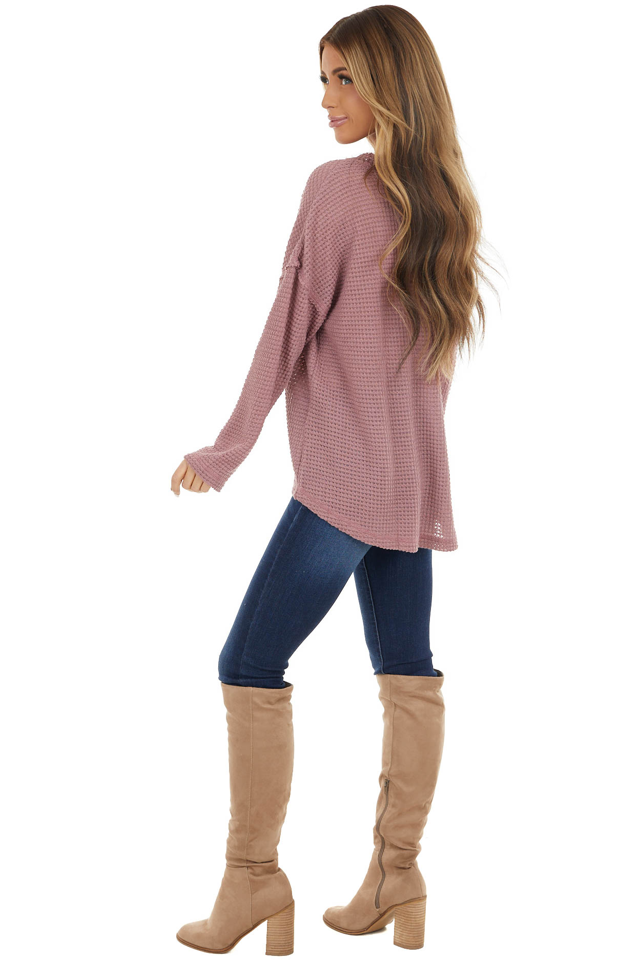 Dusty Rose Long Sleeve Waffle Knit Top with Button Detail