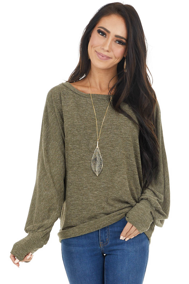 Olive Knit Top with Long Dolman Sleeves and Rounded Neckline