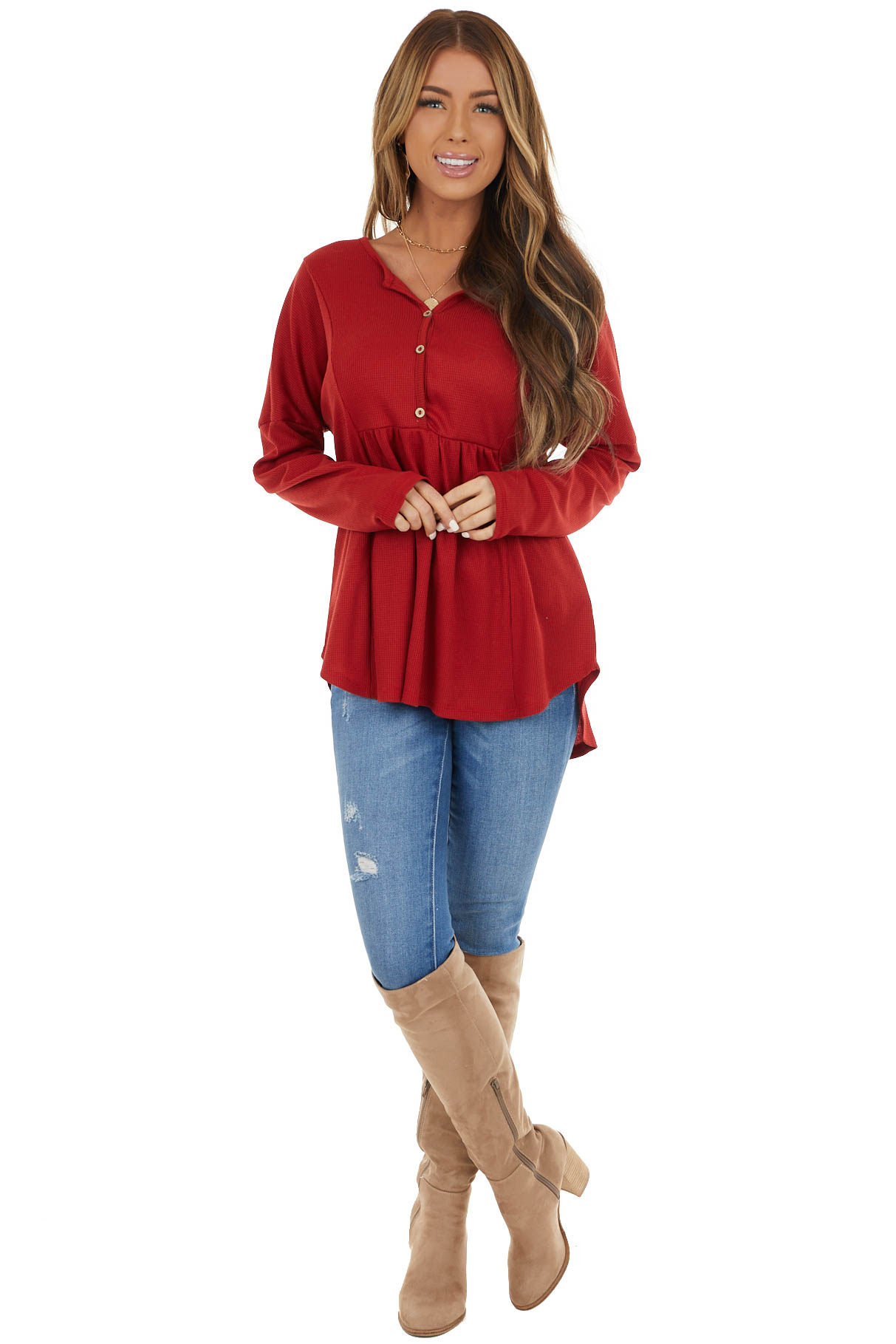 Cherry Red Thermal Knit Top with Buttons and Ruffle Detail