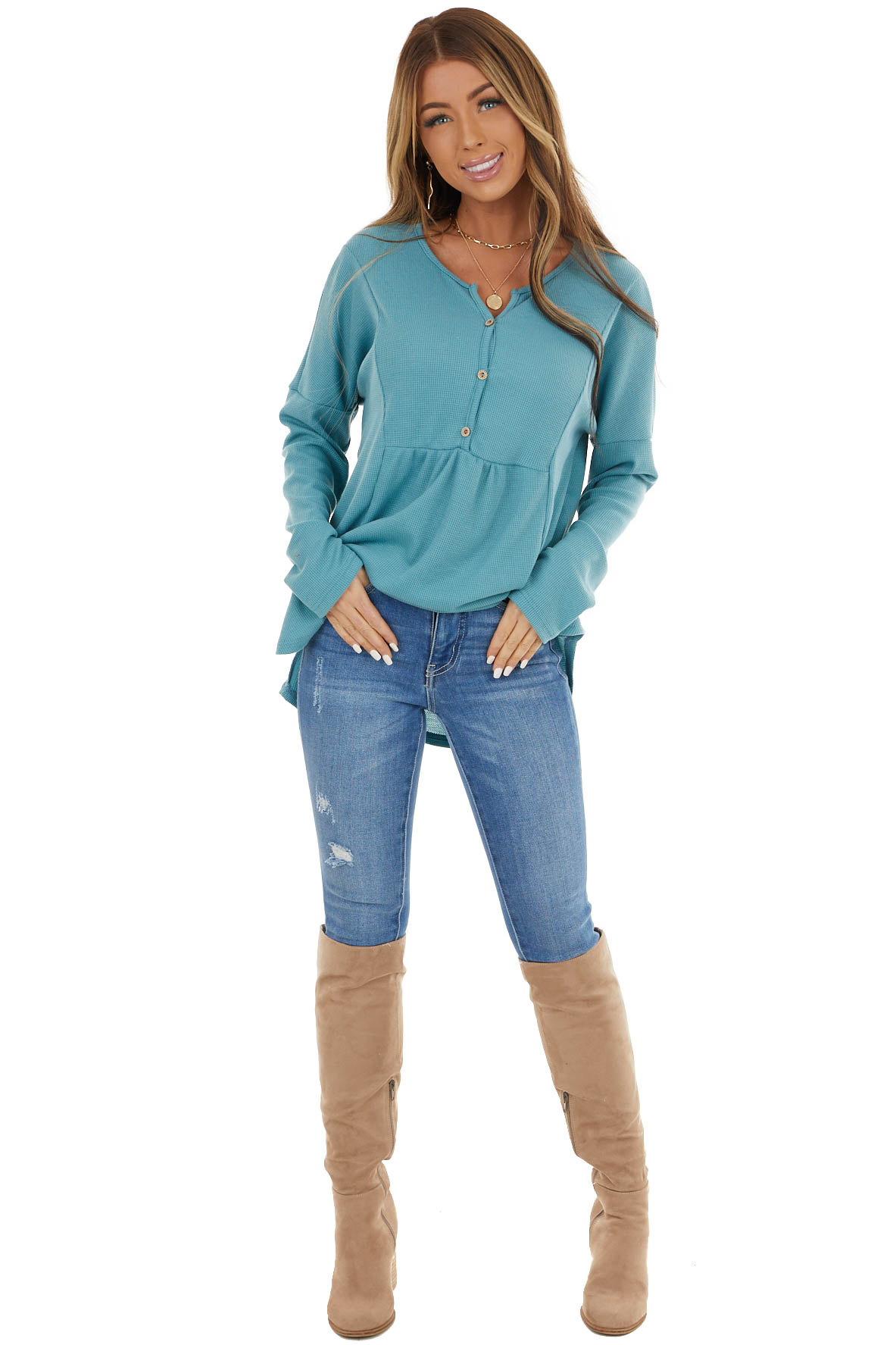 Teal Thermal Knit Top with Buttons and Ruffle Detail