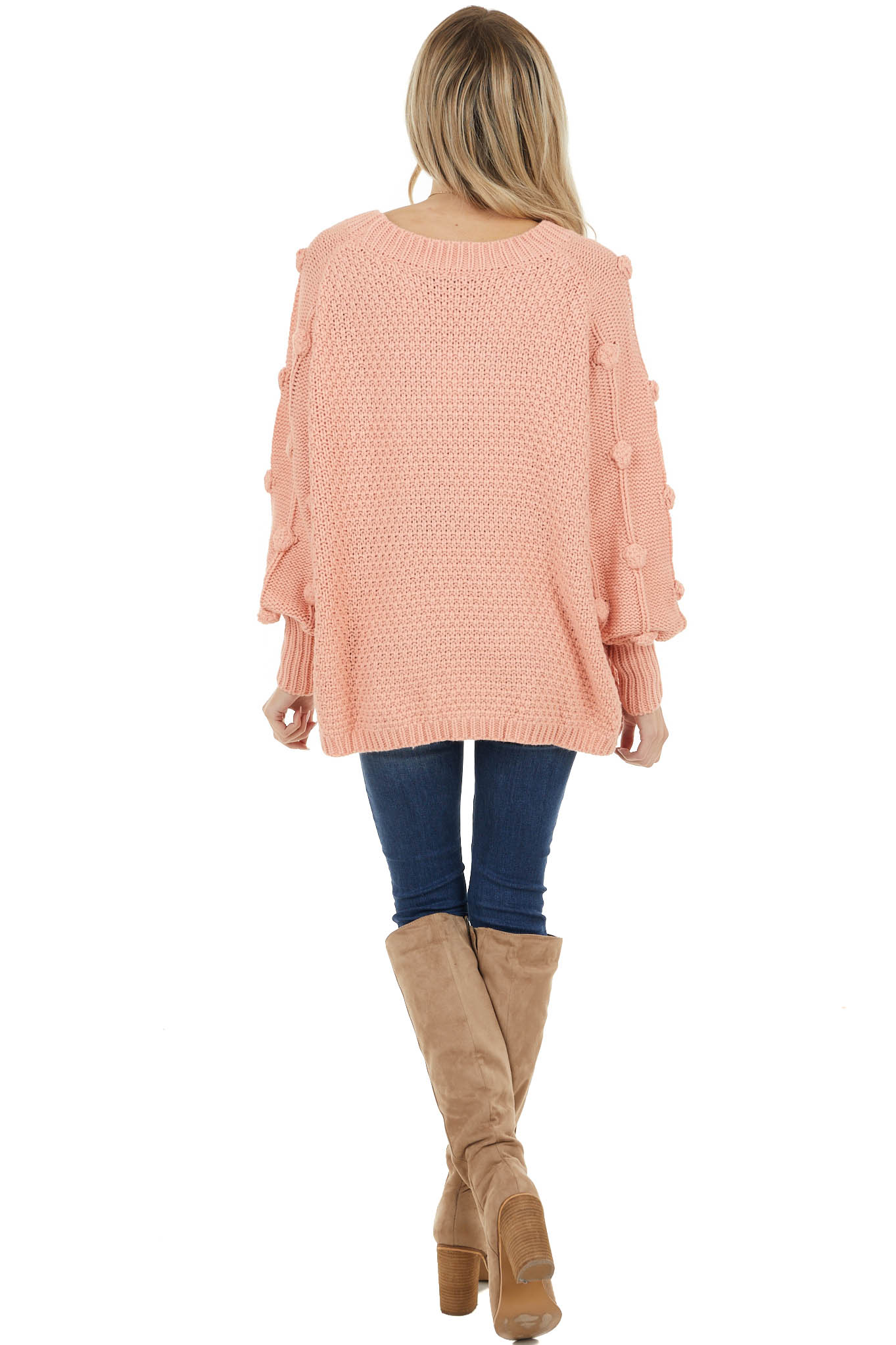 Coral Long Sleeve Knit Sweater with Textured Dots Detail