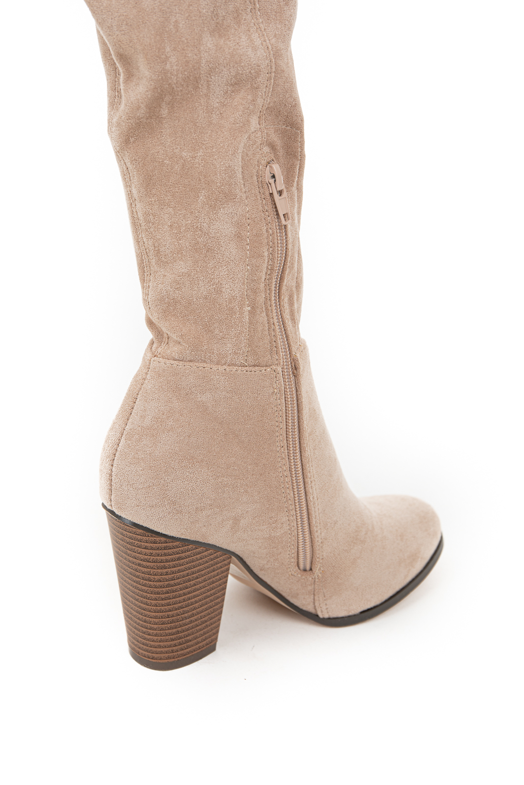 Beige Knee High Boots with Side Zipper and Chunky Heel