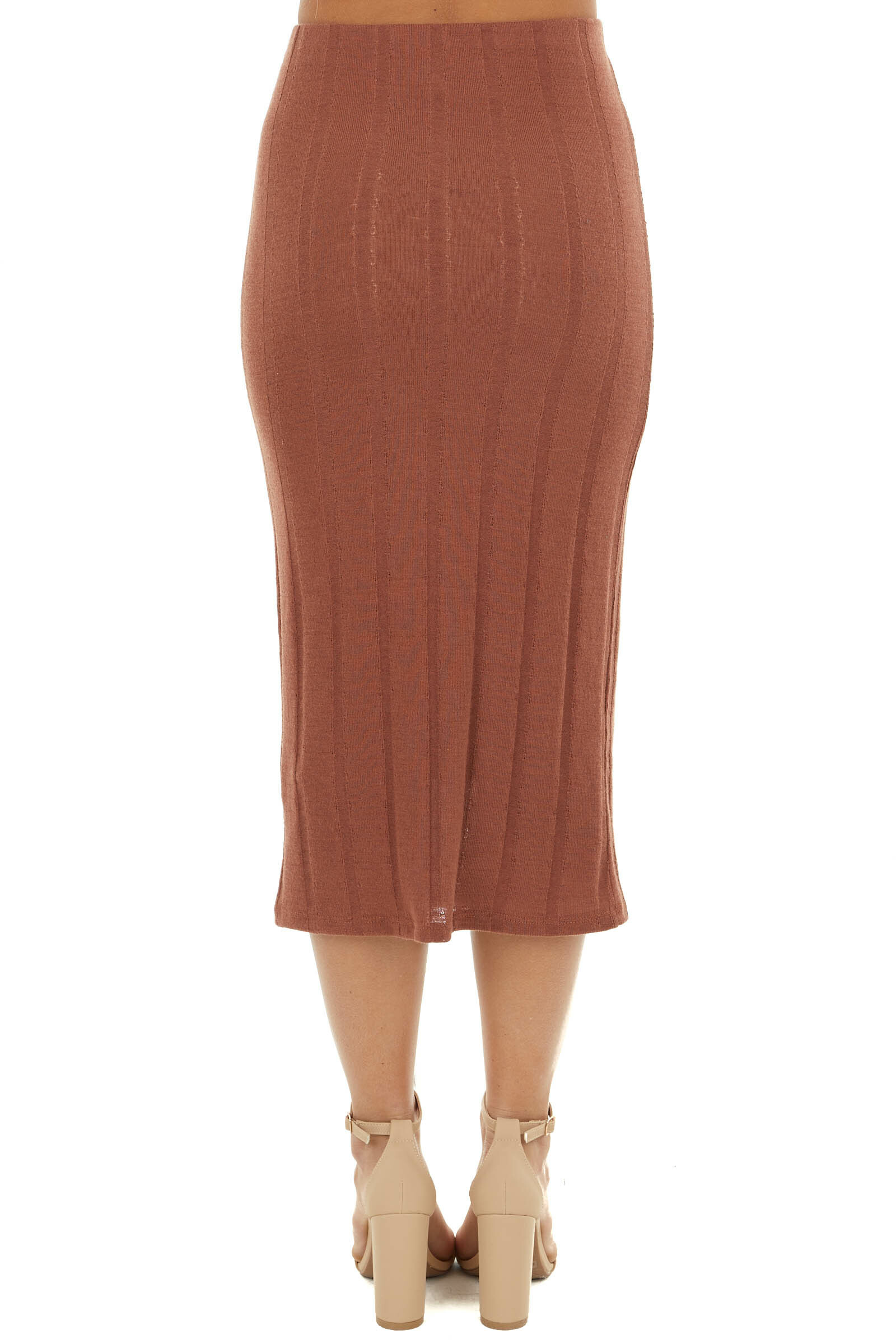 Sienna Ribbed Knit Midi Skirt with Elastic Waistband
