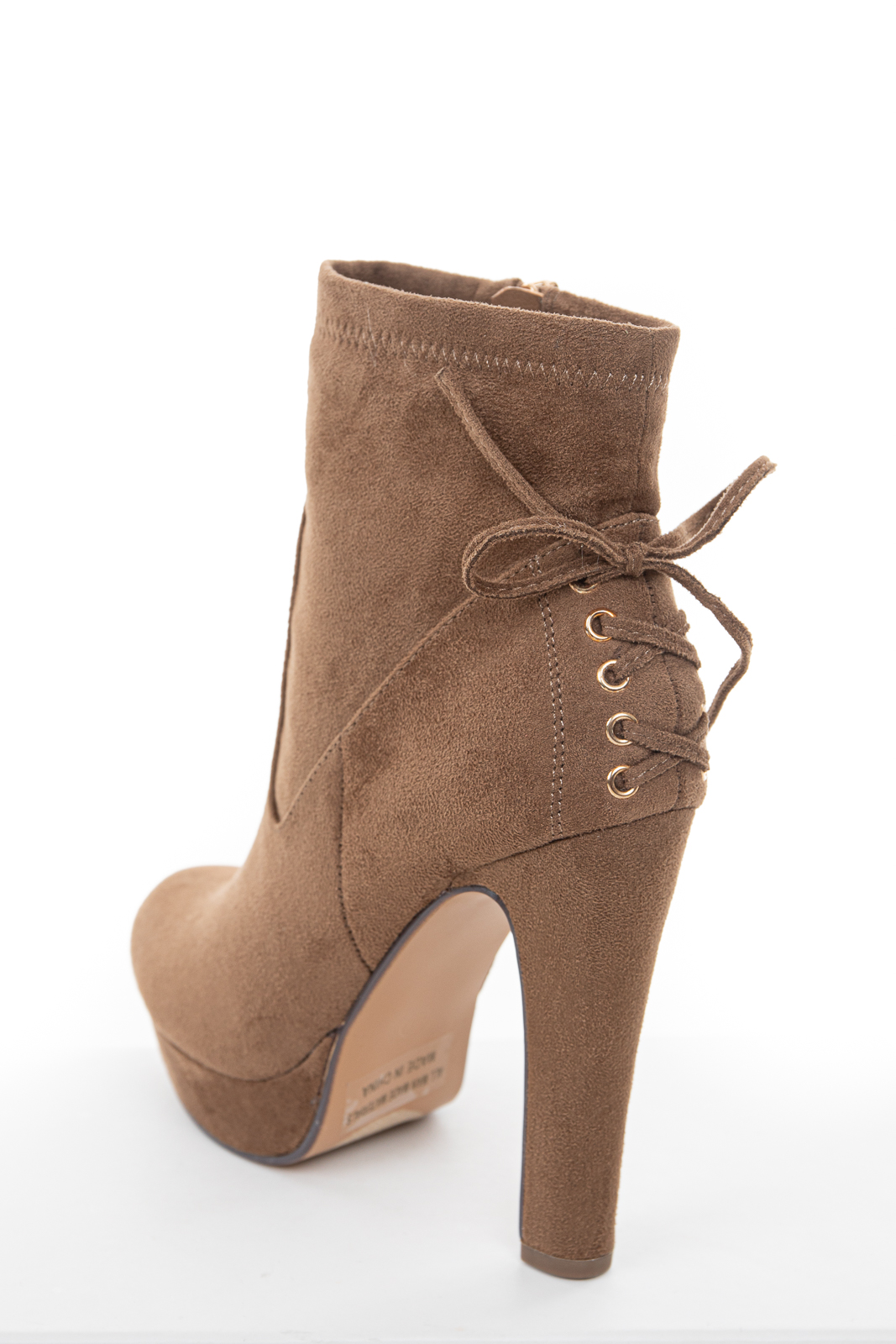 Light Walnut High Heel Zip Up Booties with Tie Detail