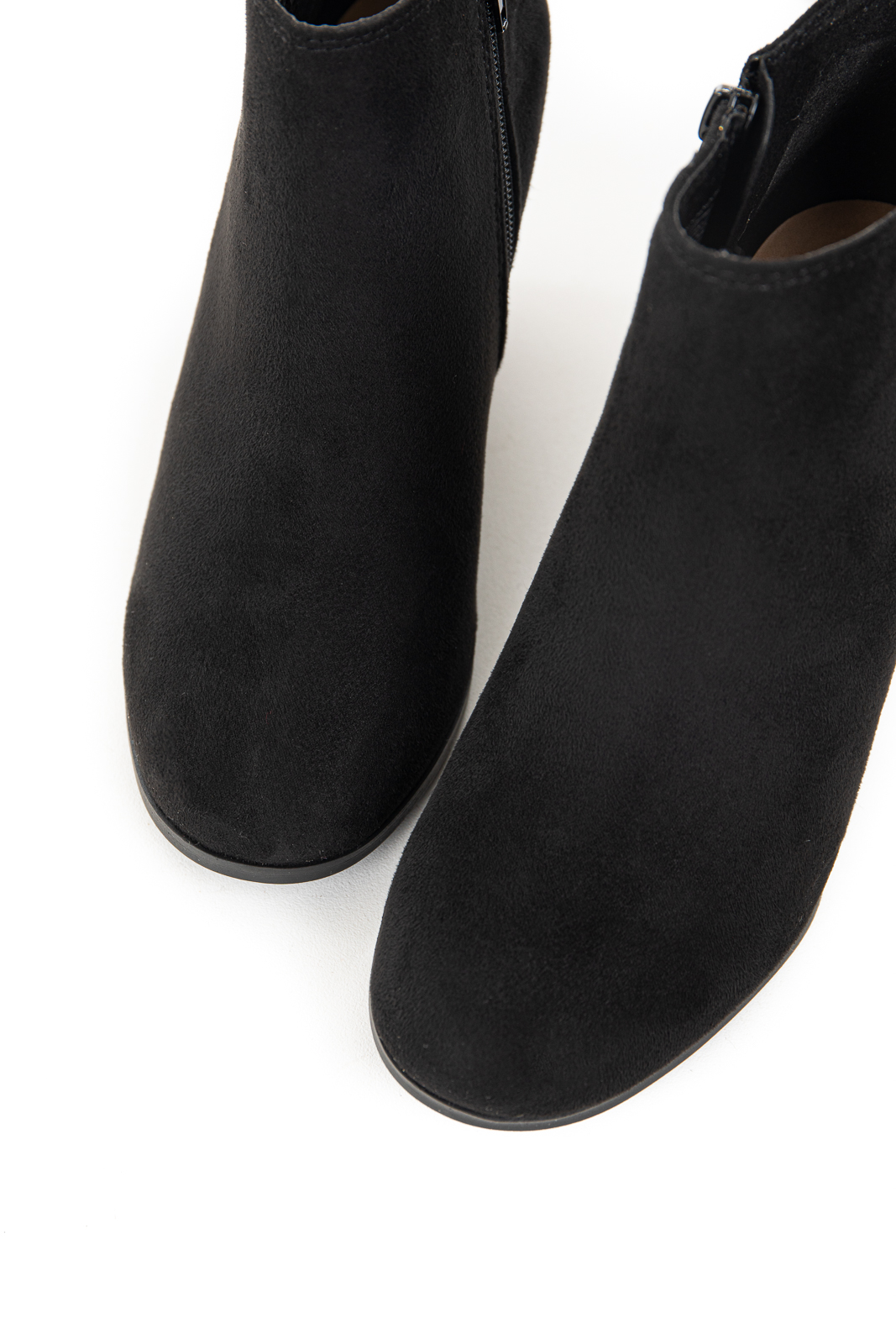 Black Faux Suede Wedge Booties with Asymmetrical Opening