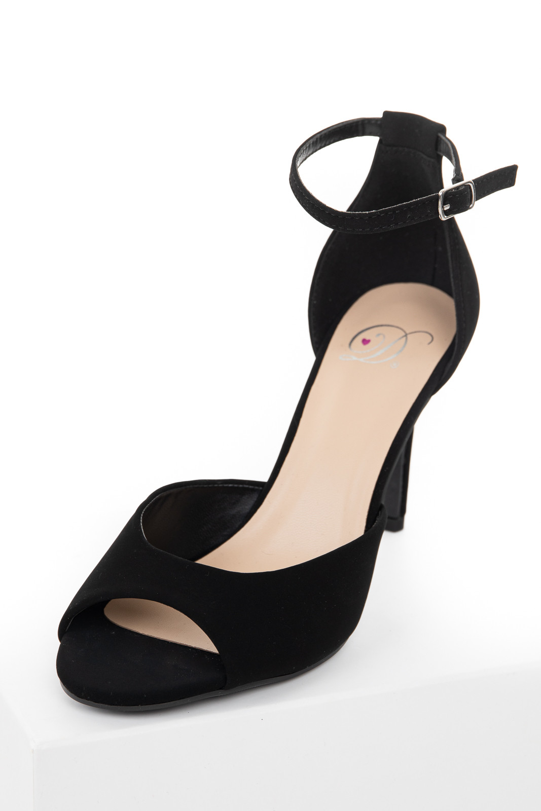 Black Faux Suede Peep Toe Heels with Adjustable Strap