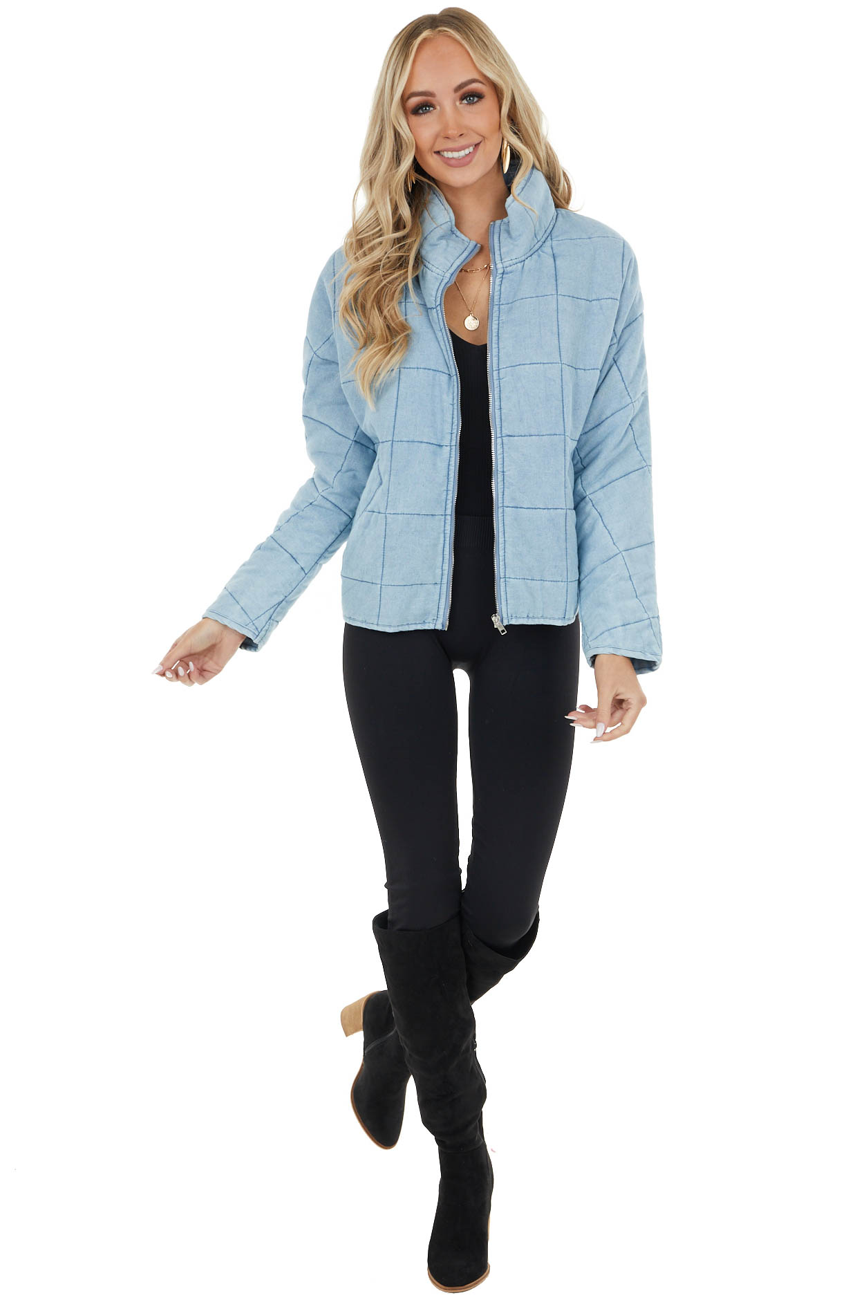 Lightweight Quilted Denim Jacket with Zipper and Pockets