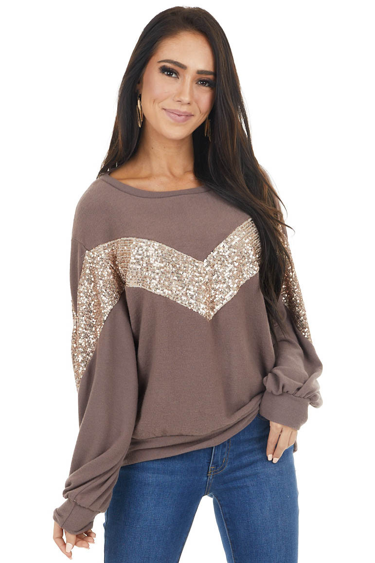 Mocha Long Sleeve Top with Chevron Shaped Sequin Pattern