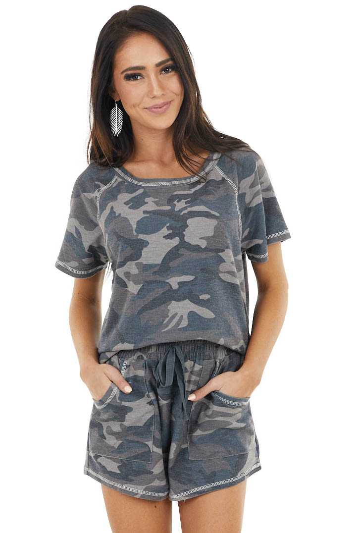 Charcoal and Mocha Camo Print Top and Shorts Lounge Set