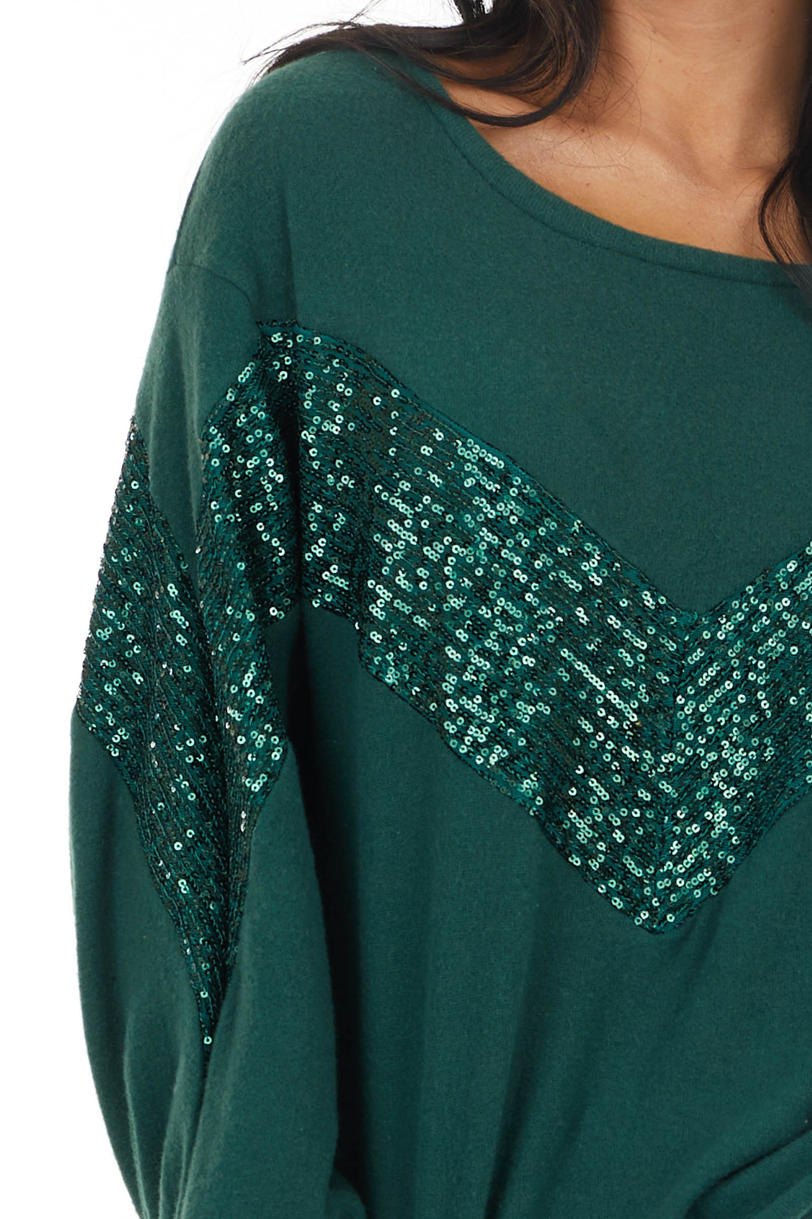 Forest Long Sleeve Top with Chevron Shaped Sequin Pattern
