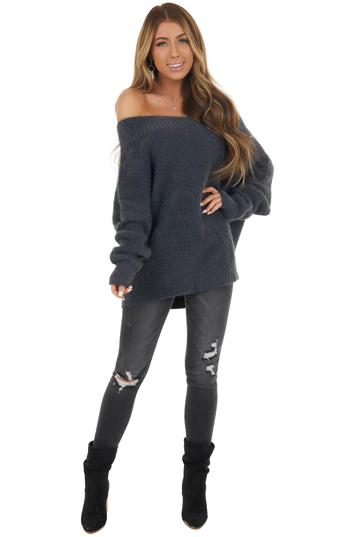 Slate Grey Super Soft Long Sleeve Off Shoulder Fuzzy Sweater
