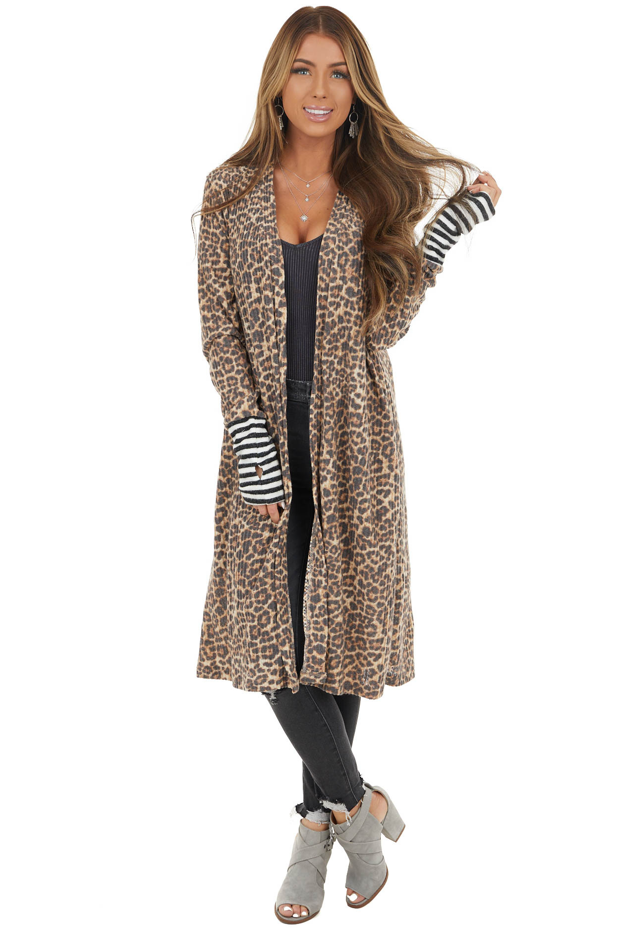 Beige Leopard Print Cardigan with Striped Contrasts