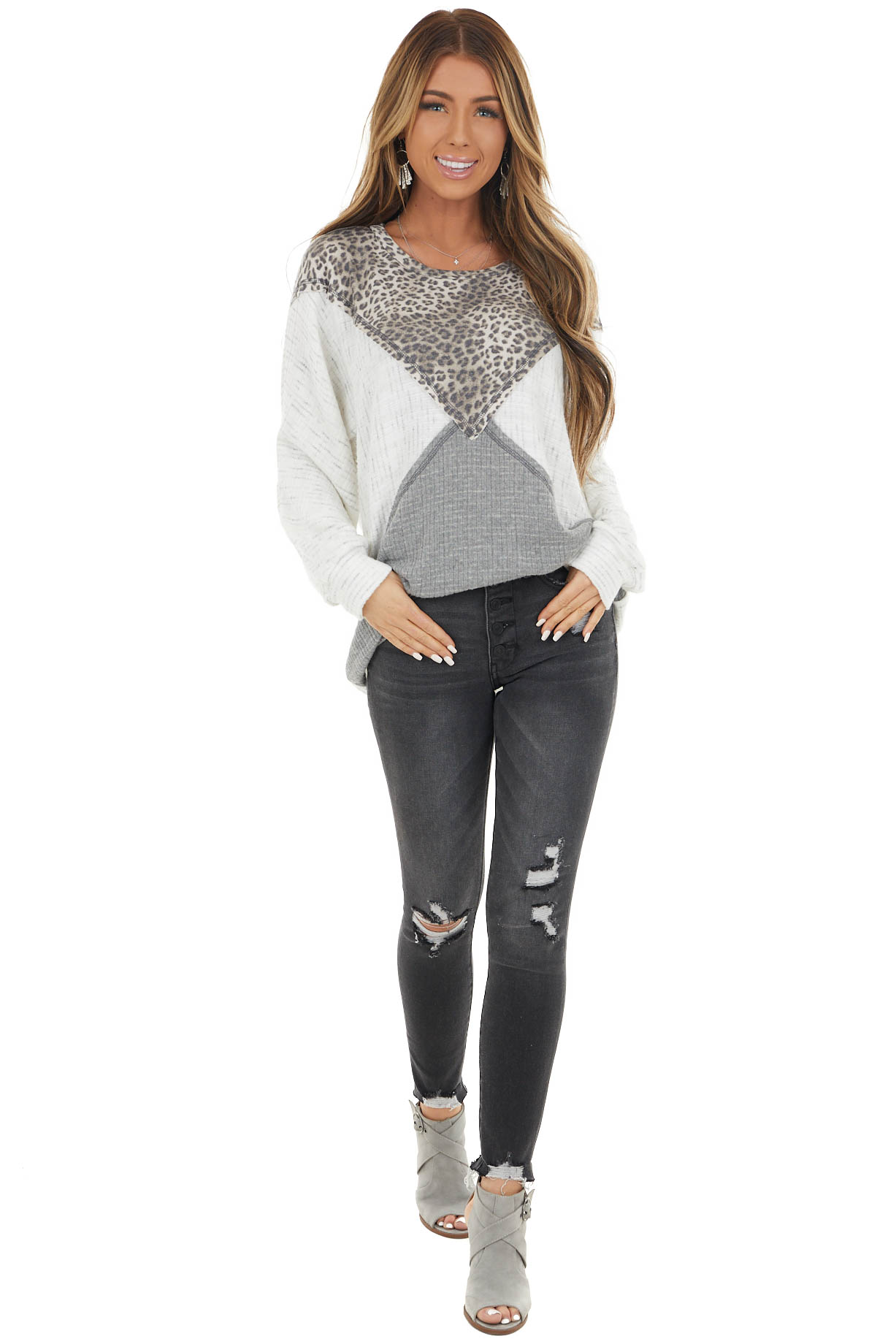 Heathered Ivory Leopard Print and Colorblock Long Sleeve Top
