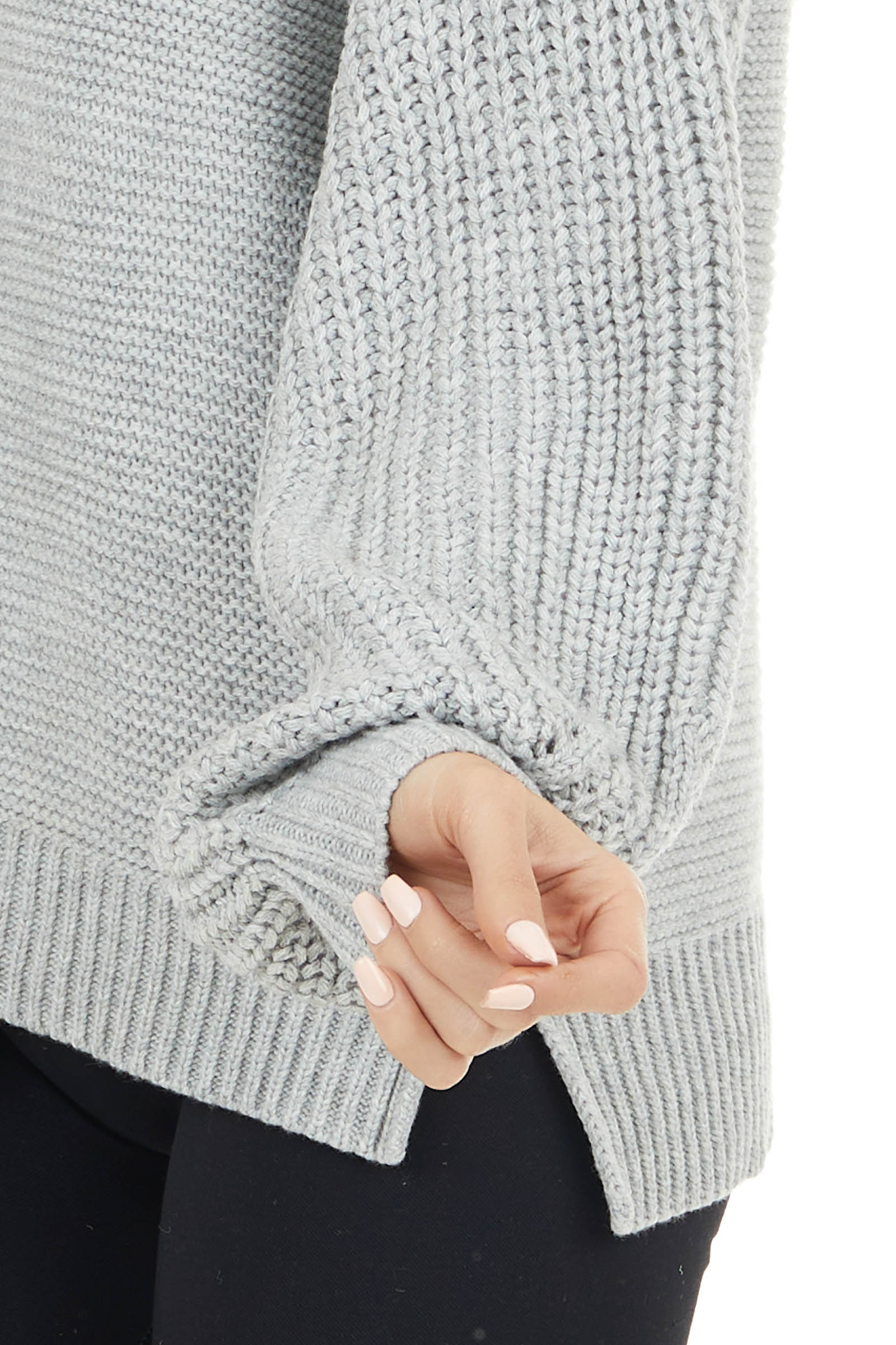 Heather Grey Mock Neck Sweater with Thick Knit Puff Sleeves