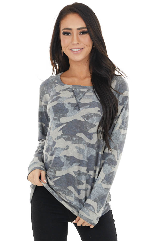 Stone Grey Camo Print Long Sleeve Top with Rounded Neckline