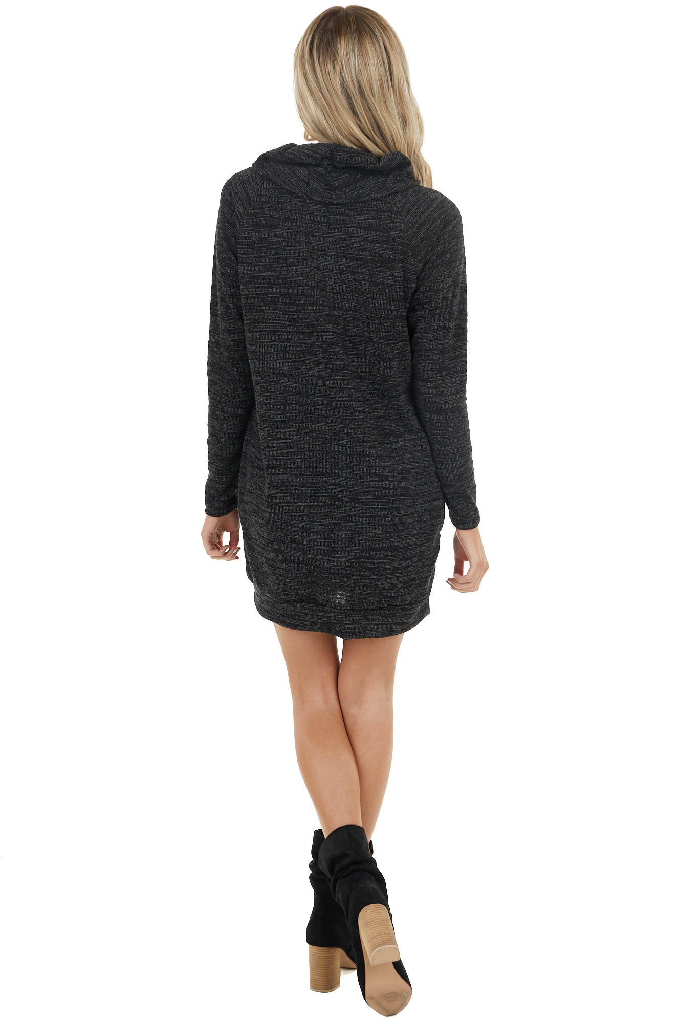 Black Long Sleeve Stretchy Knit Mini Dress with Cowl Neck