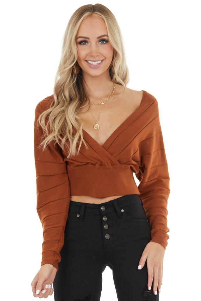 Tawny Surplice Long Sleeve Crop Top with Textured Stripes