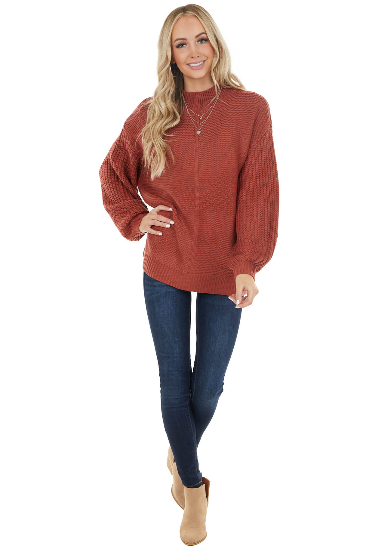 Rust Mock Neck Sweater with Thick Knit Puff Sleeves