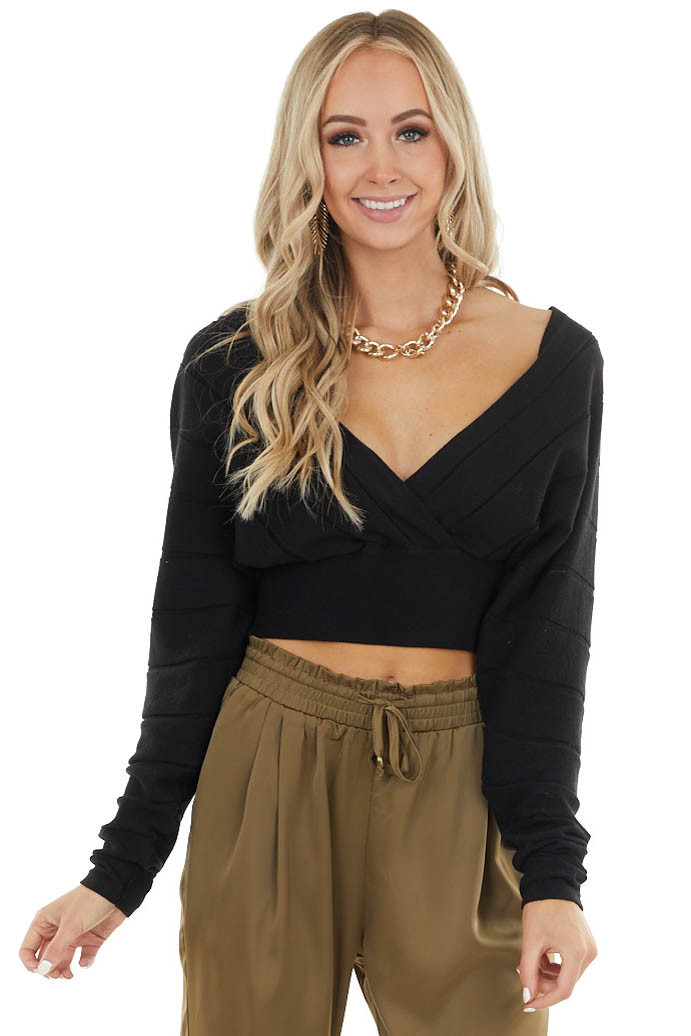 Black Surplice Long Sleeve Crop Top with Textured Stripes