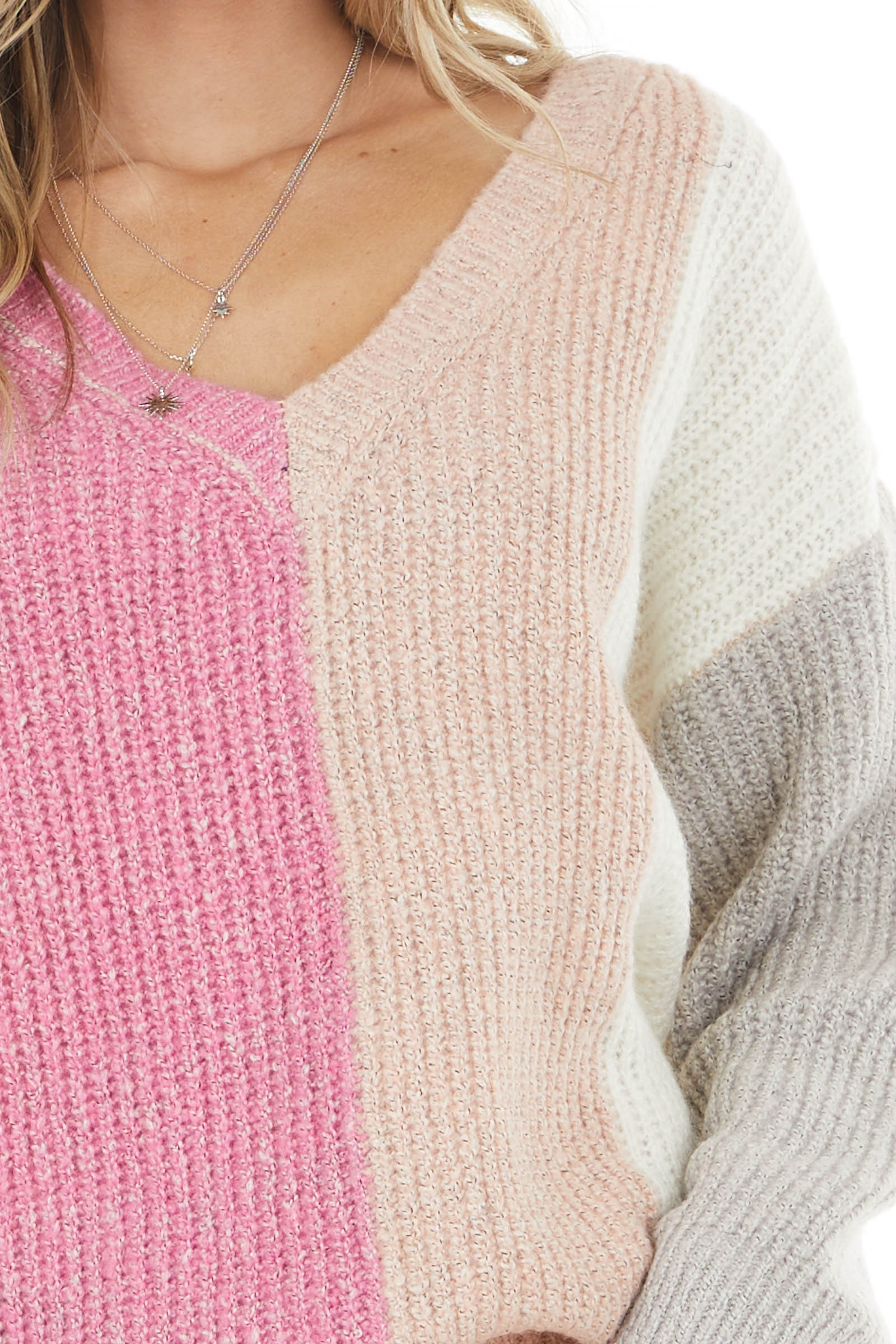 Blush and Hot Pink Colorblock V Neck Ribbed Sweater
