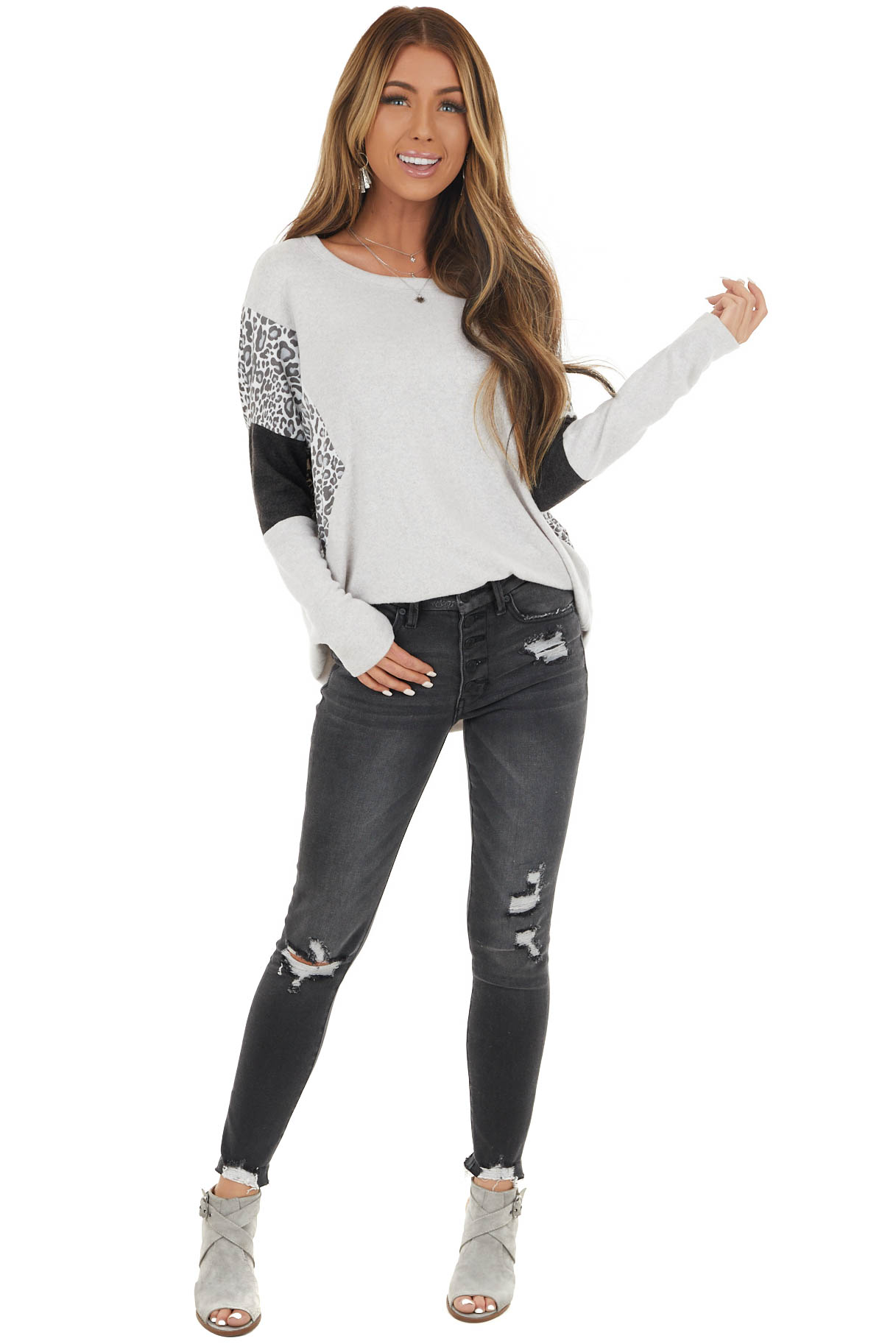Light Dove Grey Long Sleeve Multiprint Colorblock Knit Top