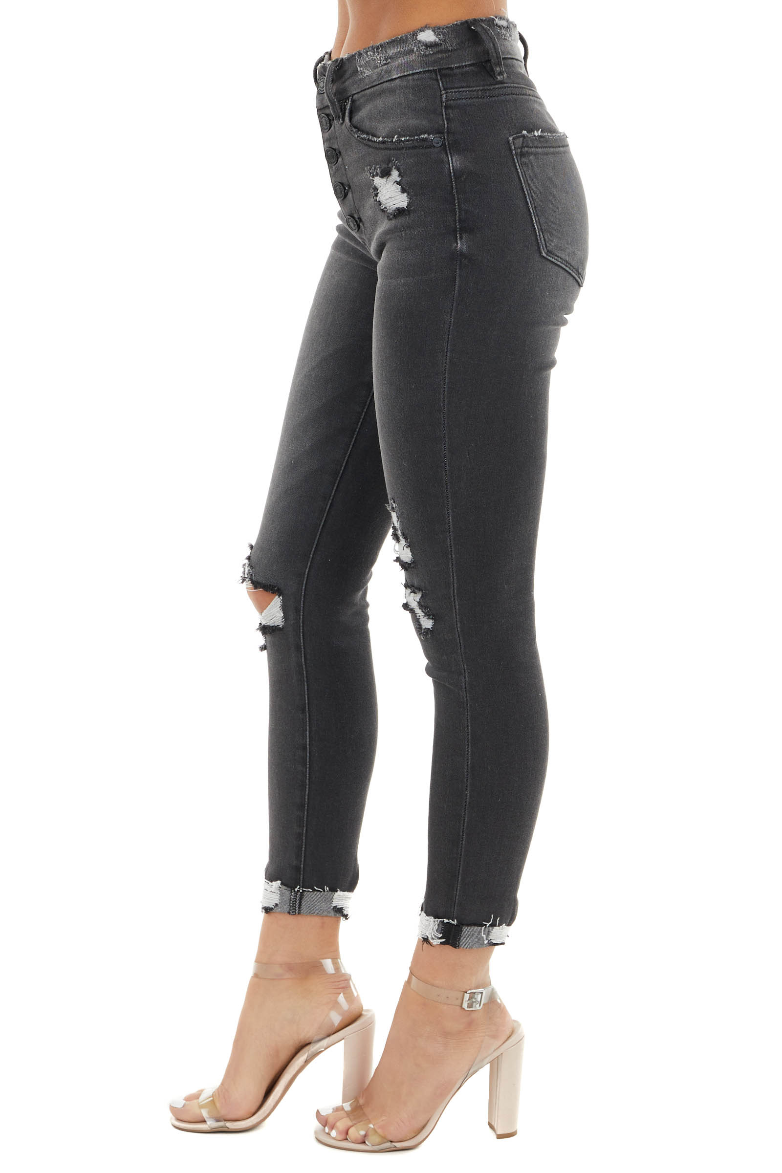 Faded Black High Rise Skinny Distressed Button Up Jeans