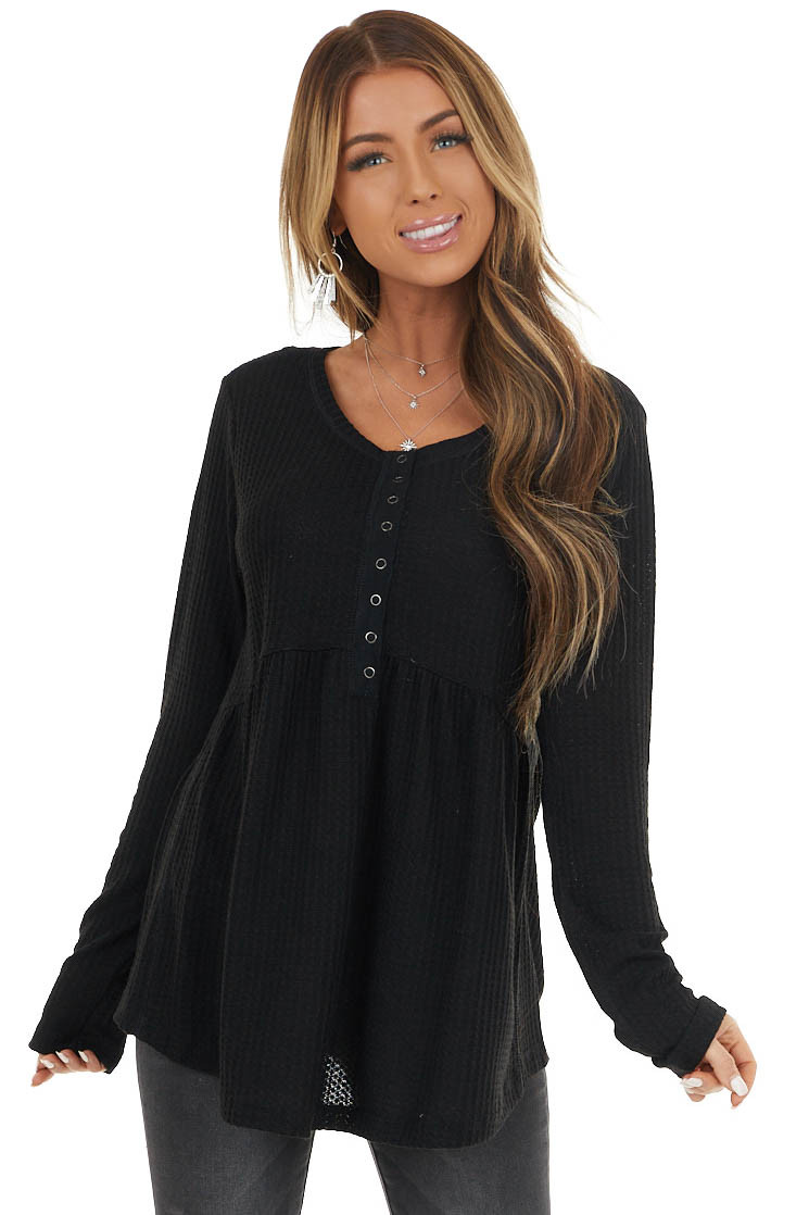 Black Waffle Knit Long Sleeve Babydoll Top with Buttons
