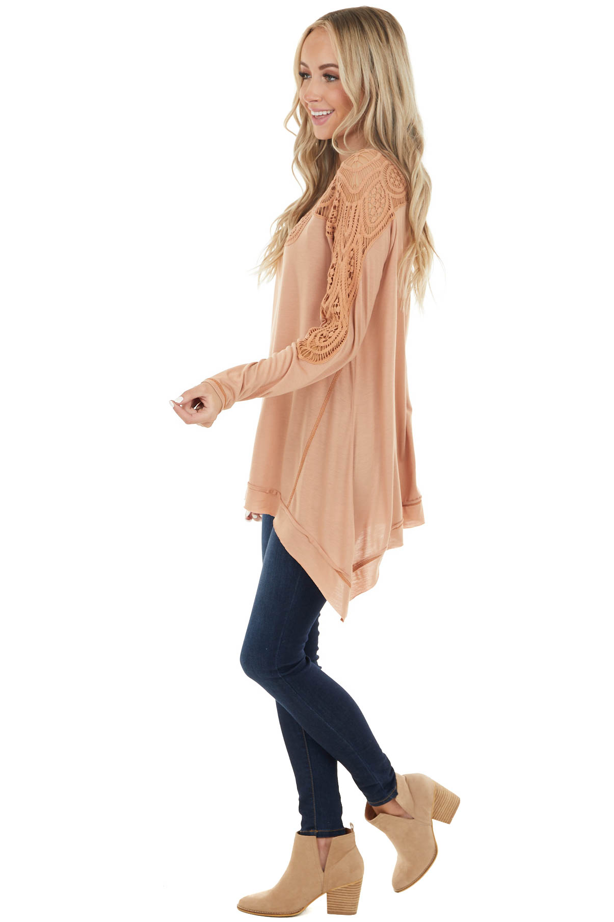 Apricot Long Sleeve Knit Top with Crocheted Neckline