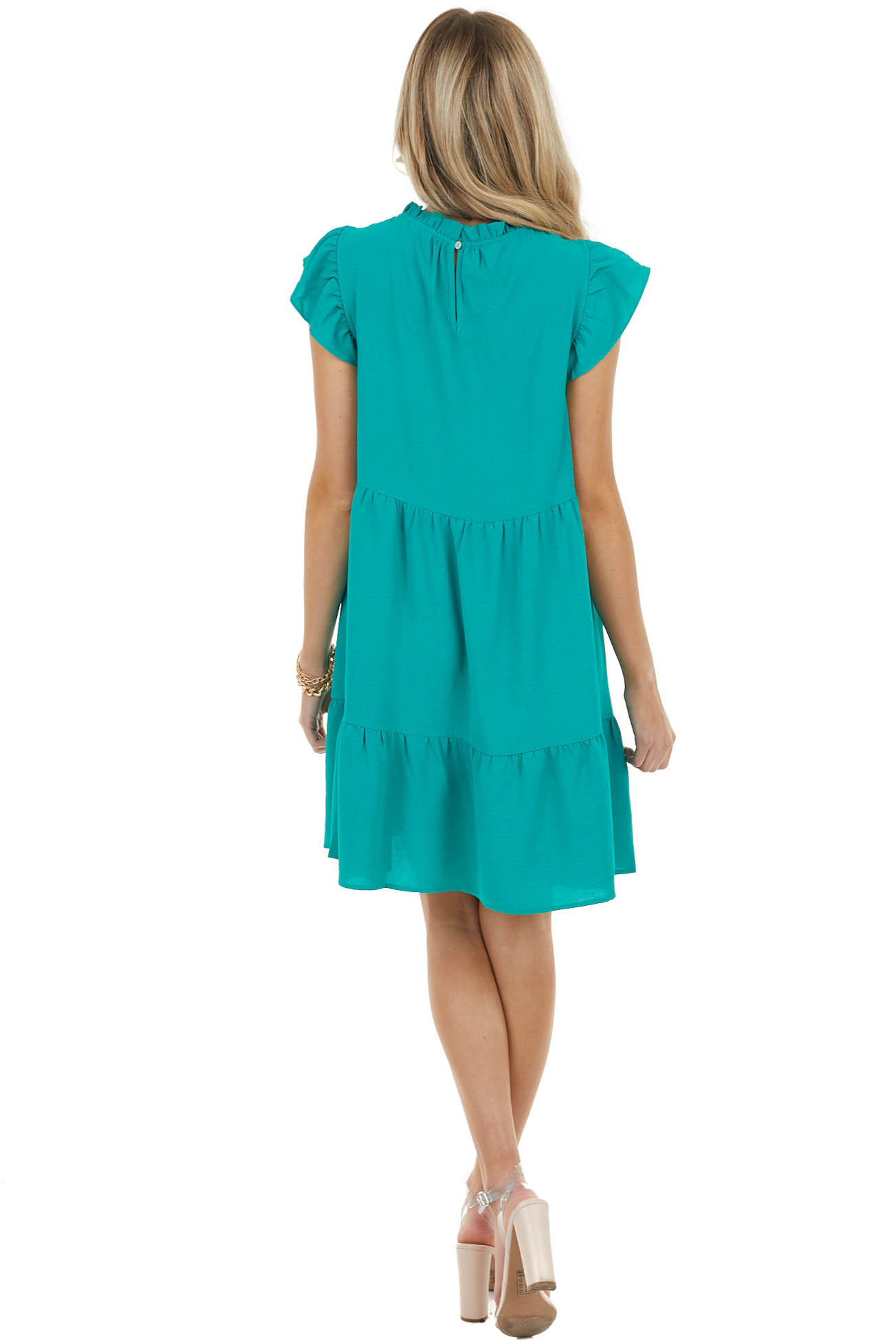 Jade Green Mock Neck Mini Tiered Dress with Ruffle Details