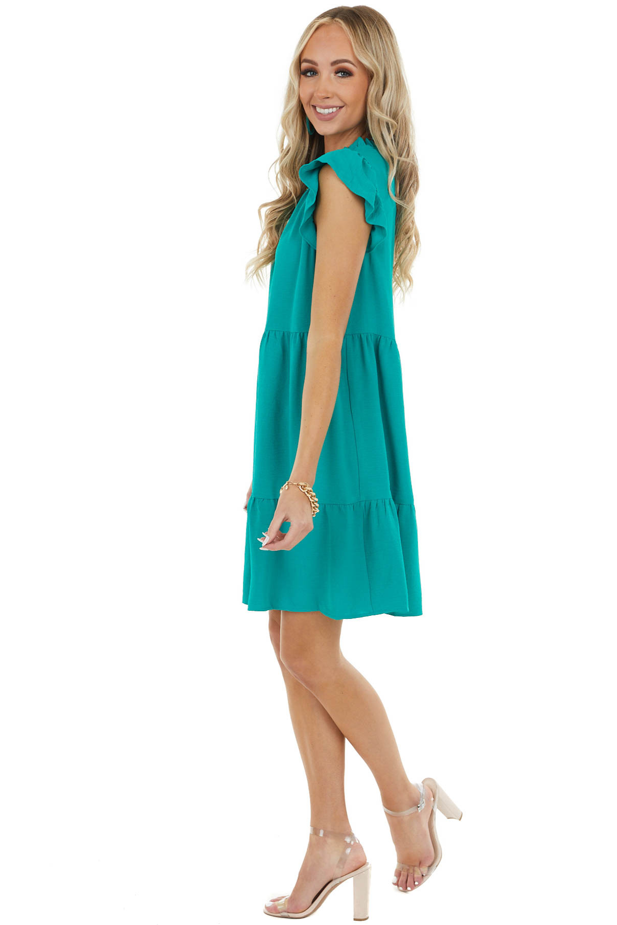 Jade Green Mock Neck Mini Tiered Dress with Ruffle Detailsv