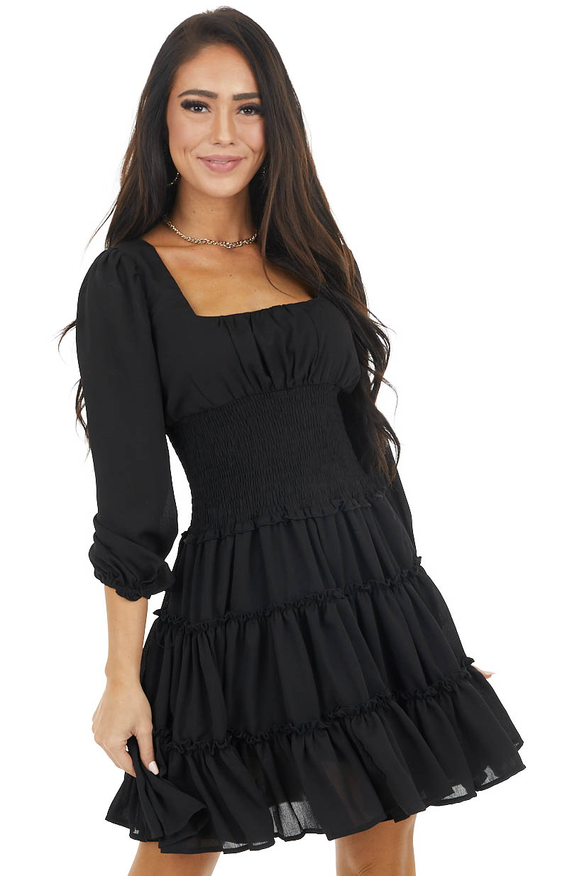 Black Tiered Dress with Smocked Waist and Puff Sleeves
