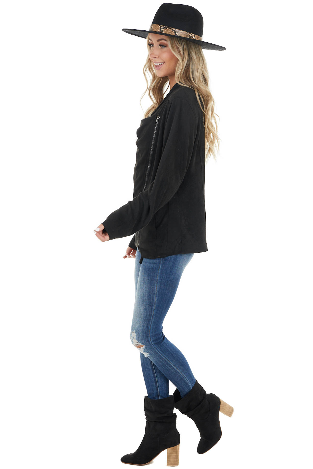 Black Lightweight Faux Suede Zipper Jacket with Pockets