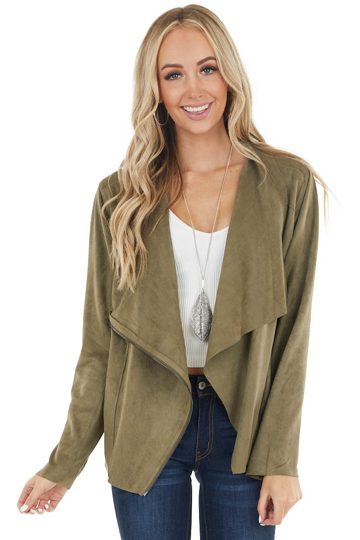 Olive Lightweight Faux Suede Zipper Jacket with Pockets