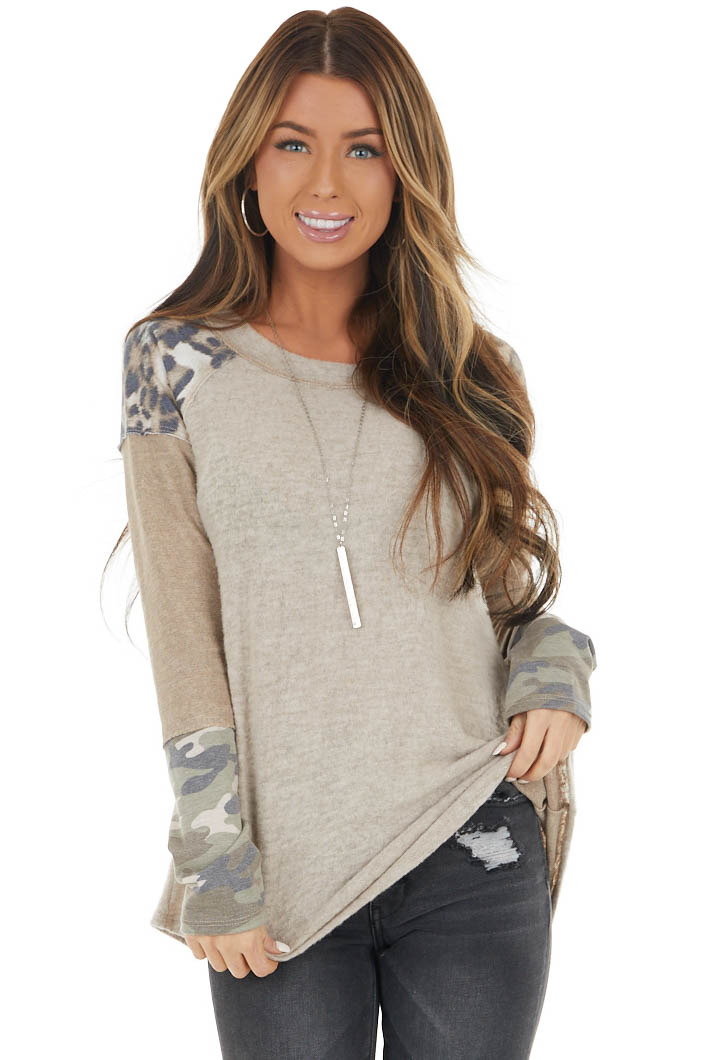 Oatmeal and Beige Contrast Long Sleeve Top with Raw Details