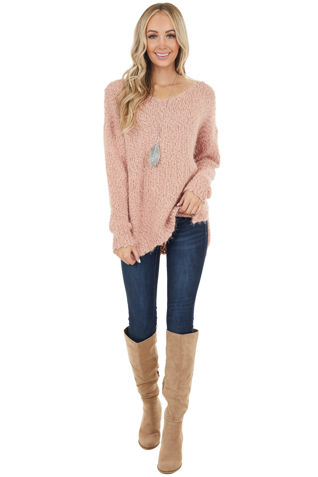 Peach Oversized Fuzzy Sweater with Drop Shoulder Sleeves