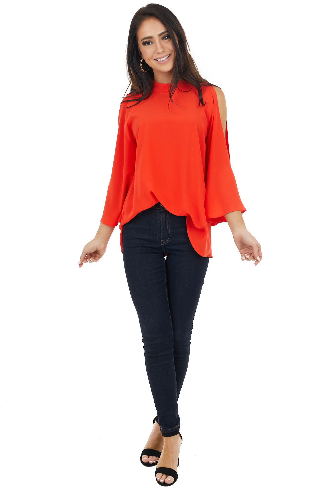Tomato Red Mock Neckline Top with Cold Shoulder Slits