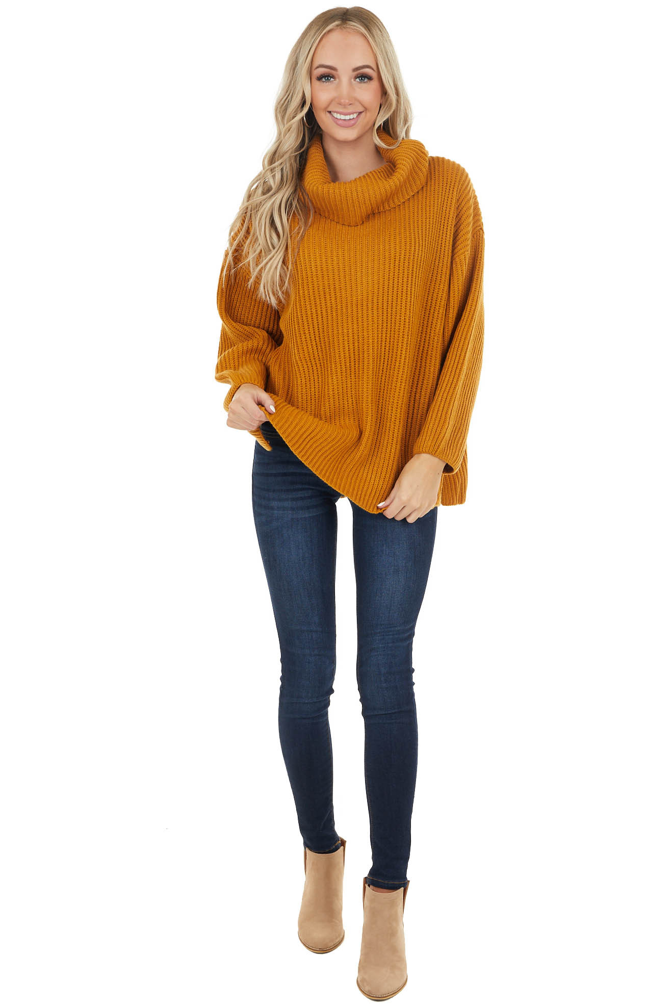 Mustard Oversized Cowl Neck Sweater with Long Sleeves