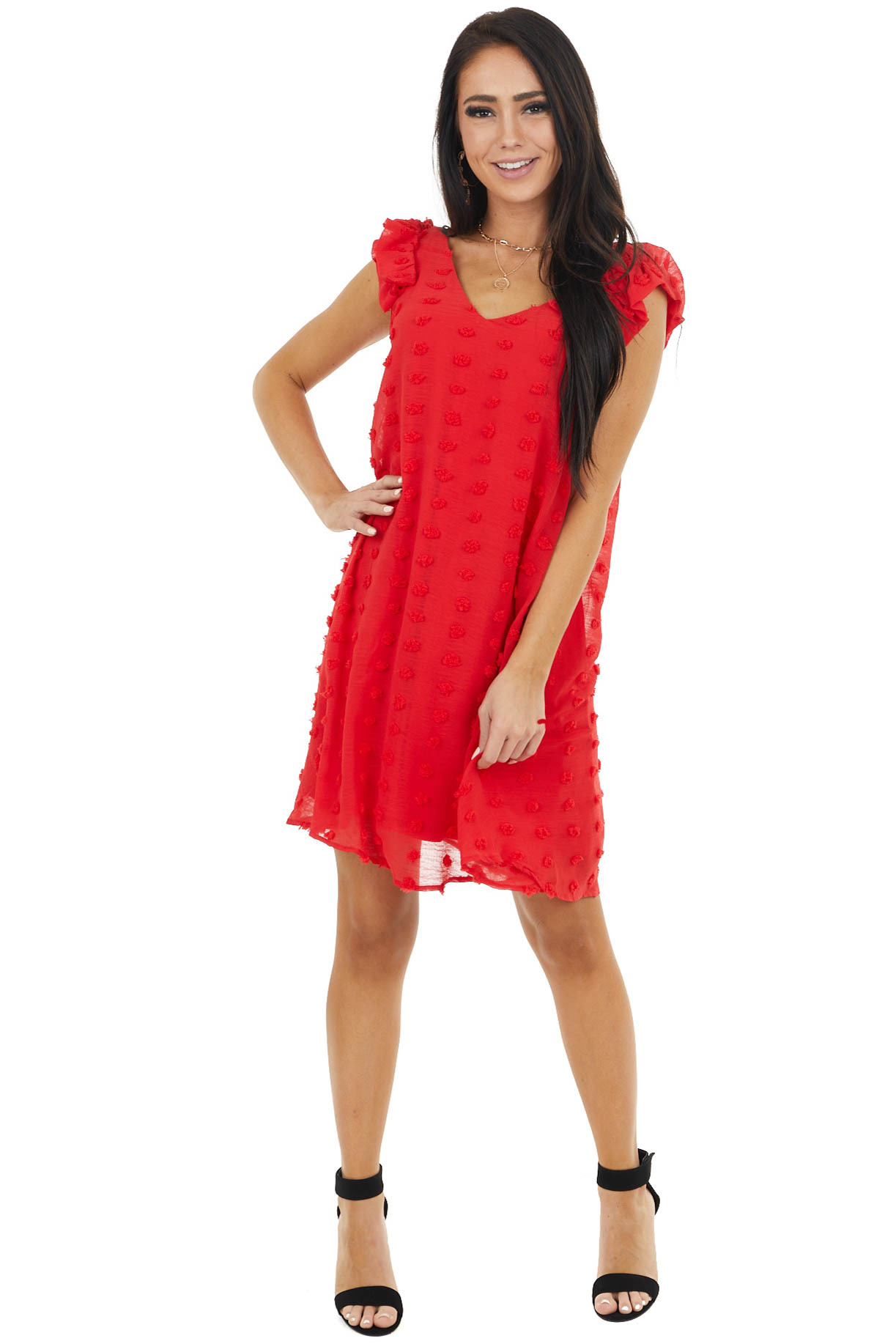 Tomato Red Swiss Dot Sleeveless Dress with Ruffle Details